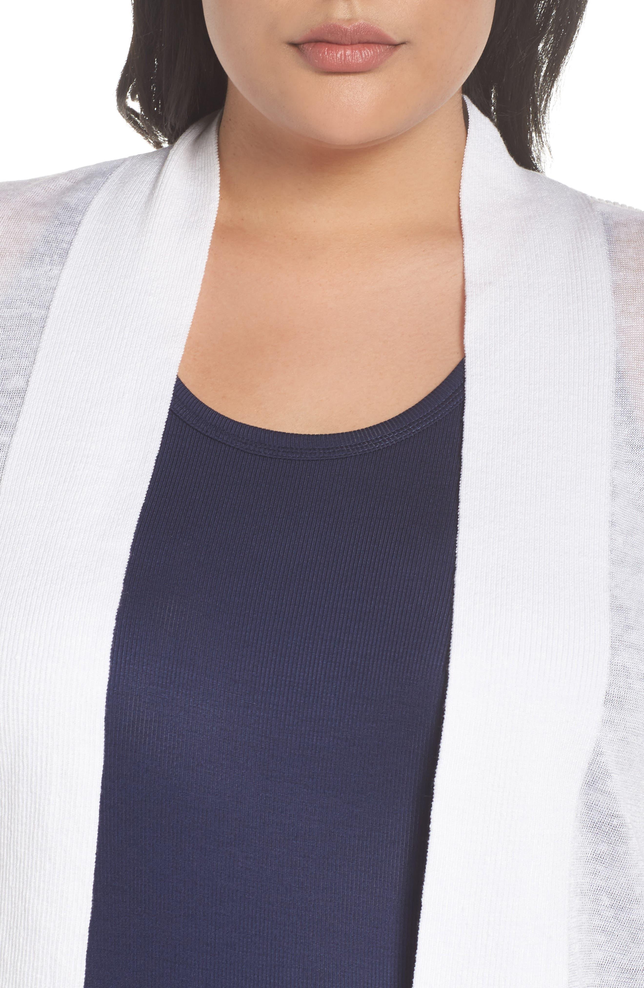 Daybreak Crop Linen Blend Cardigan,                             Alternate thumbnail 4, color,                             Paper White