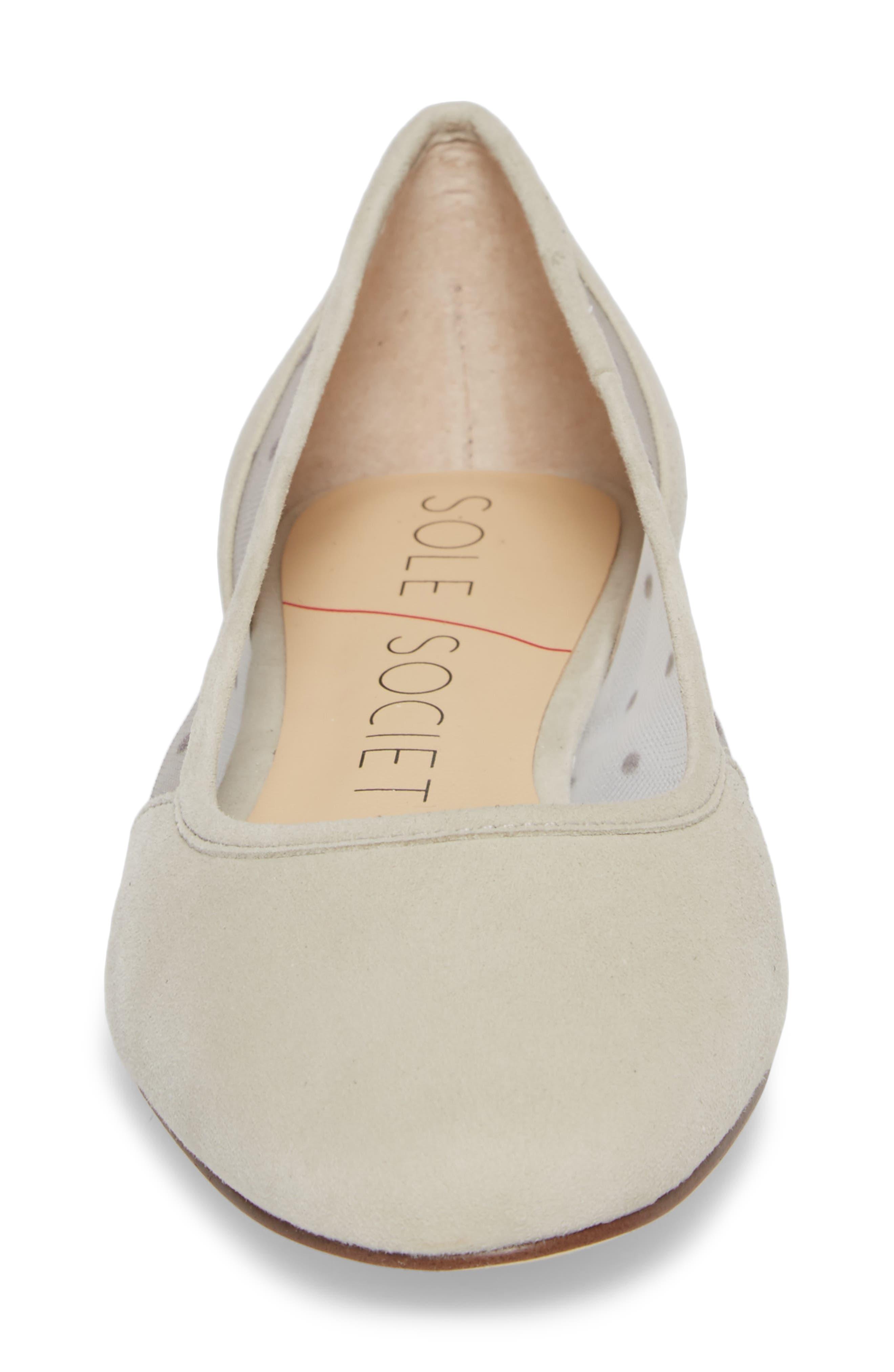 Pammy Ballet Flat,                             Alternate thumbnail 4, color,                             Dove Grey