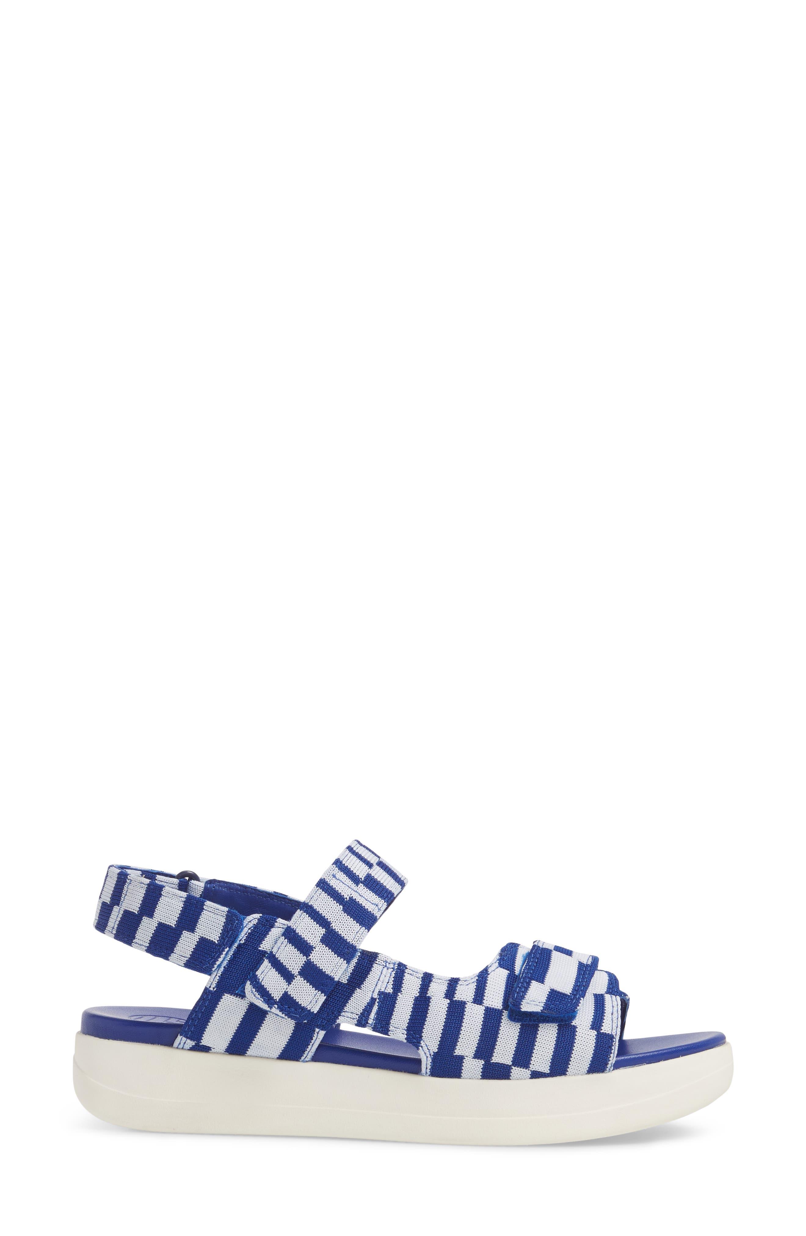 Flatform Sandal,                             Alternate thumbnail 3, color,                             Check Slalom Blue