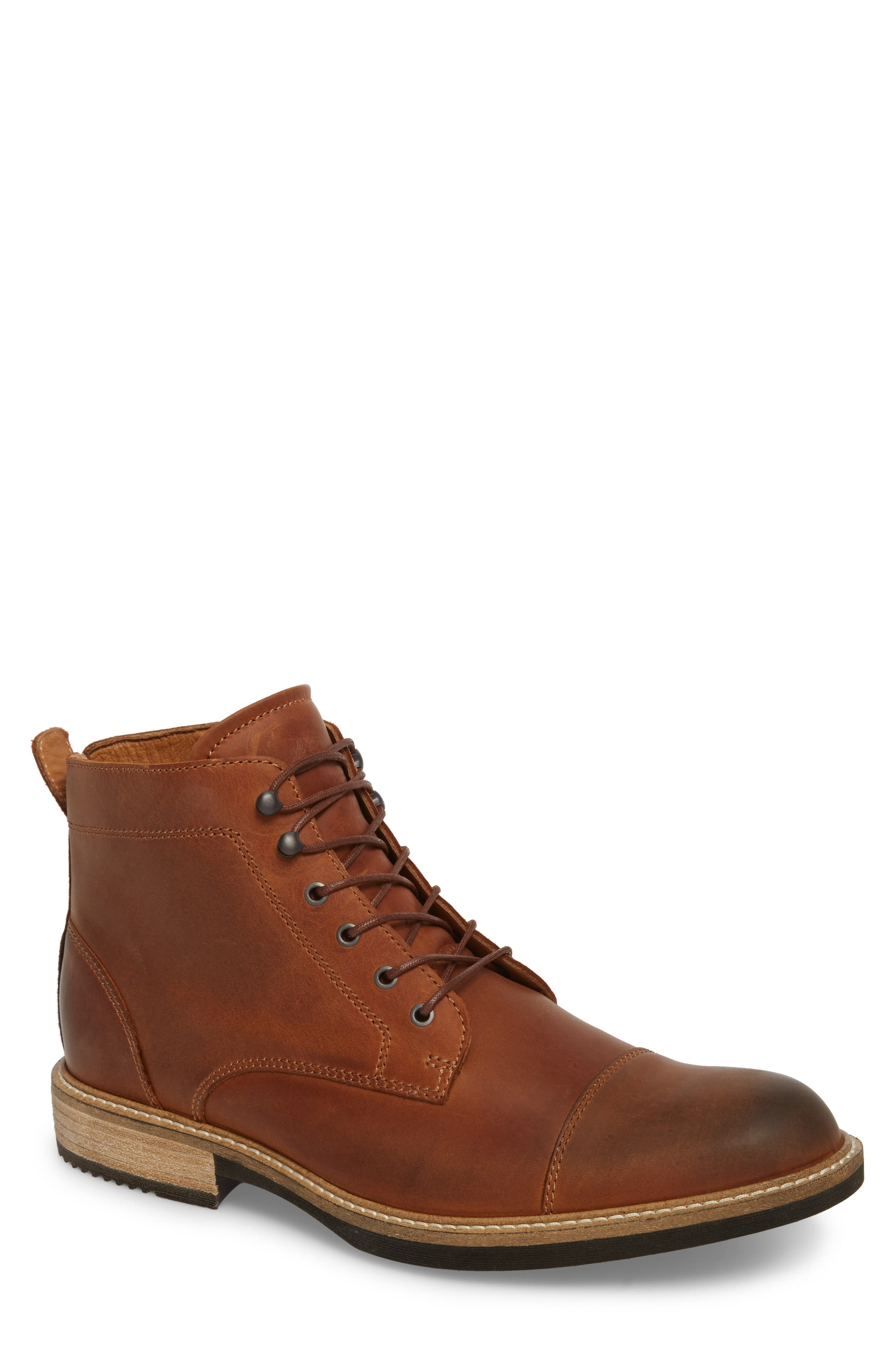 Kenton Vintage Cap Toe Boot,                             Main thumbnail 1, color,                             Cognac Leather