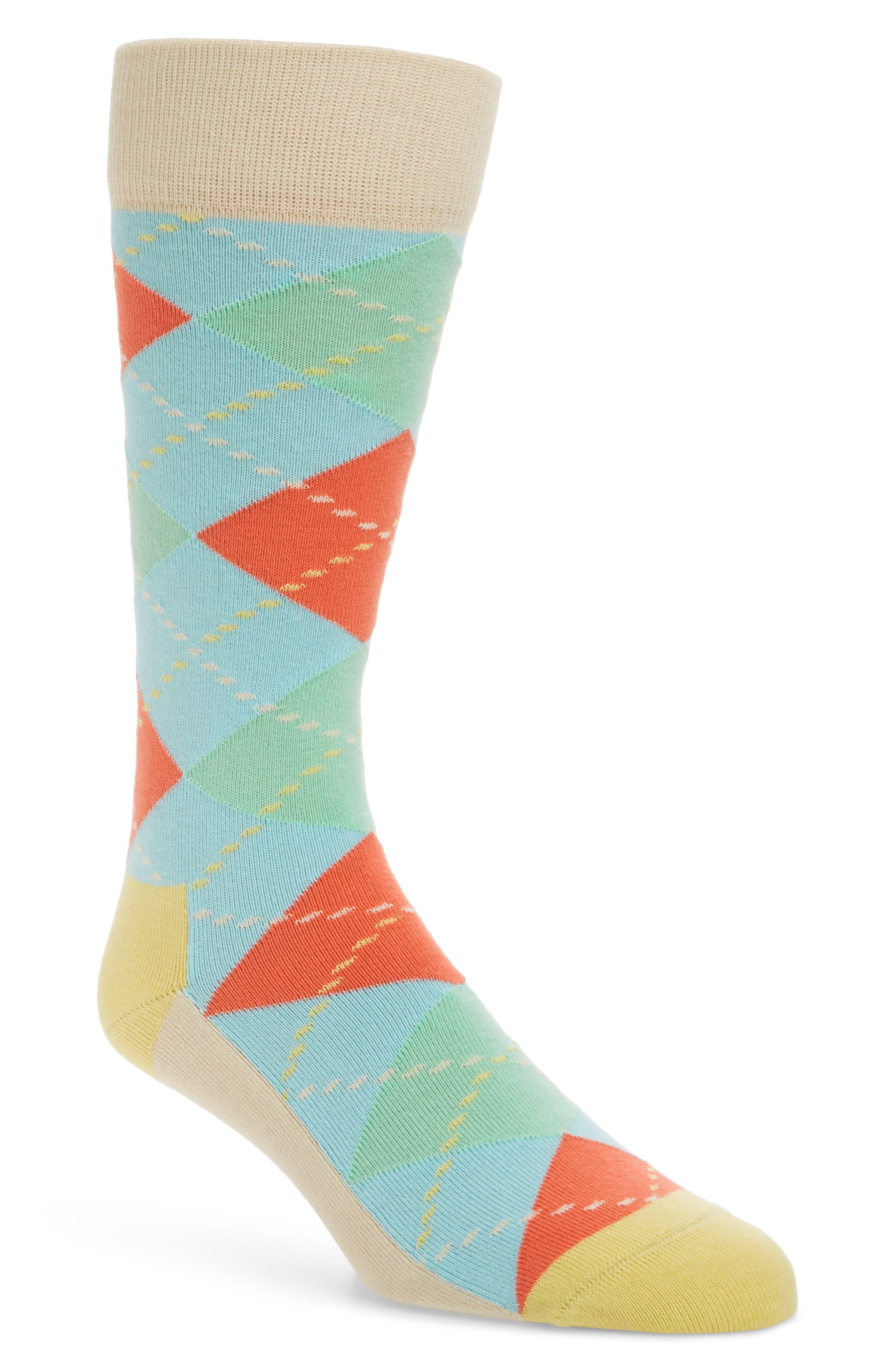 Argyle Crew Socks,                         Main,                         color, Beige Multi