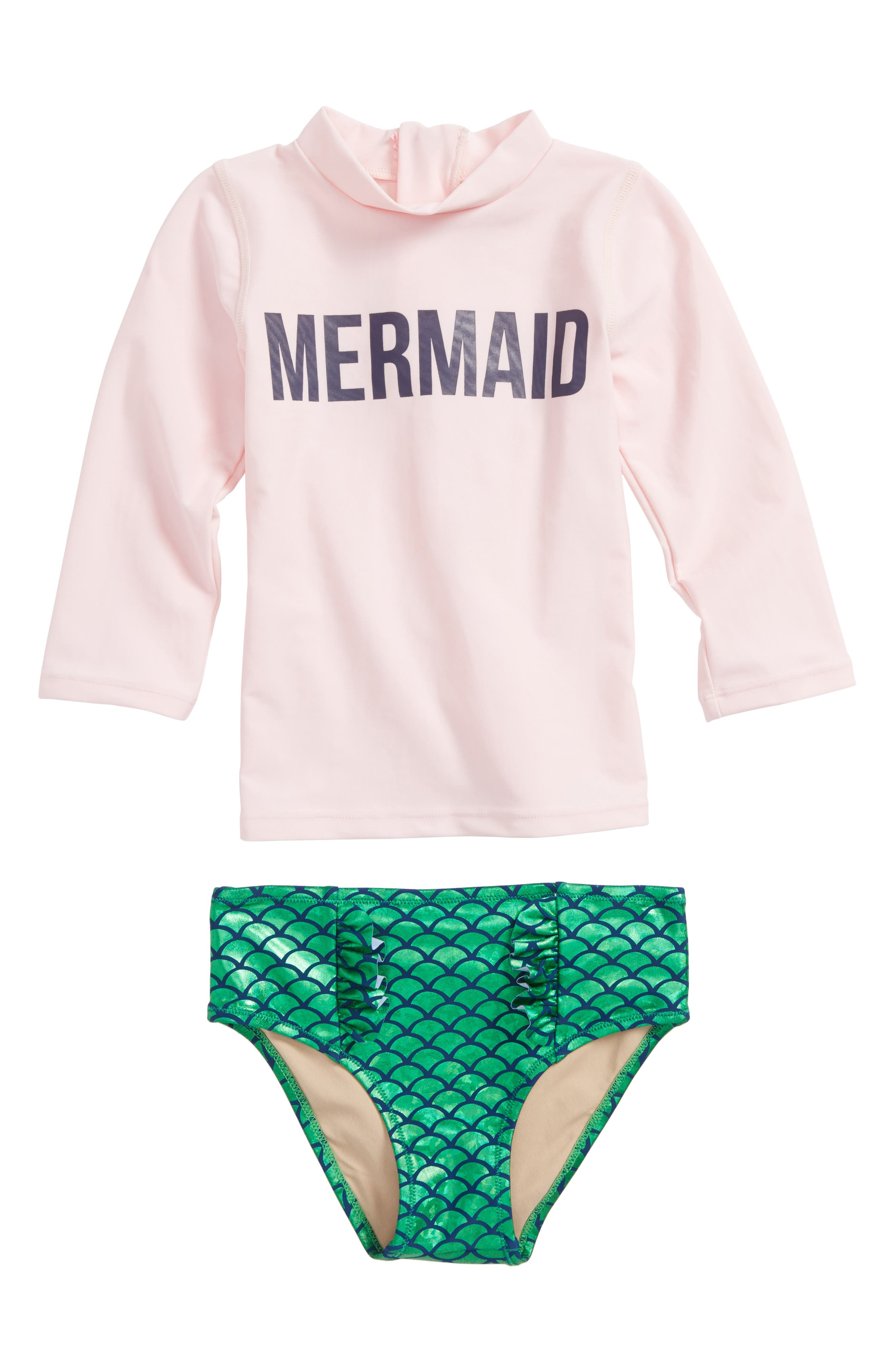 Magic Mermaid Two-Piece Rashguard Swimsuit,                             Main thumbnail 1, color,                             Pink