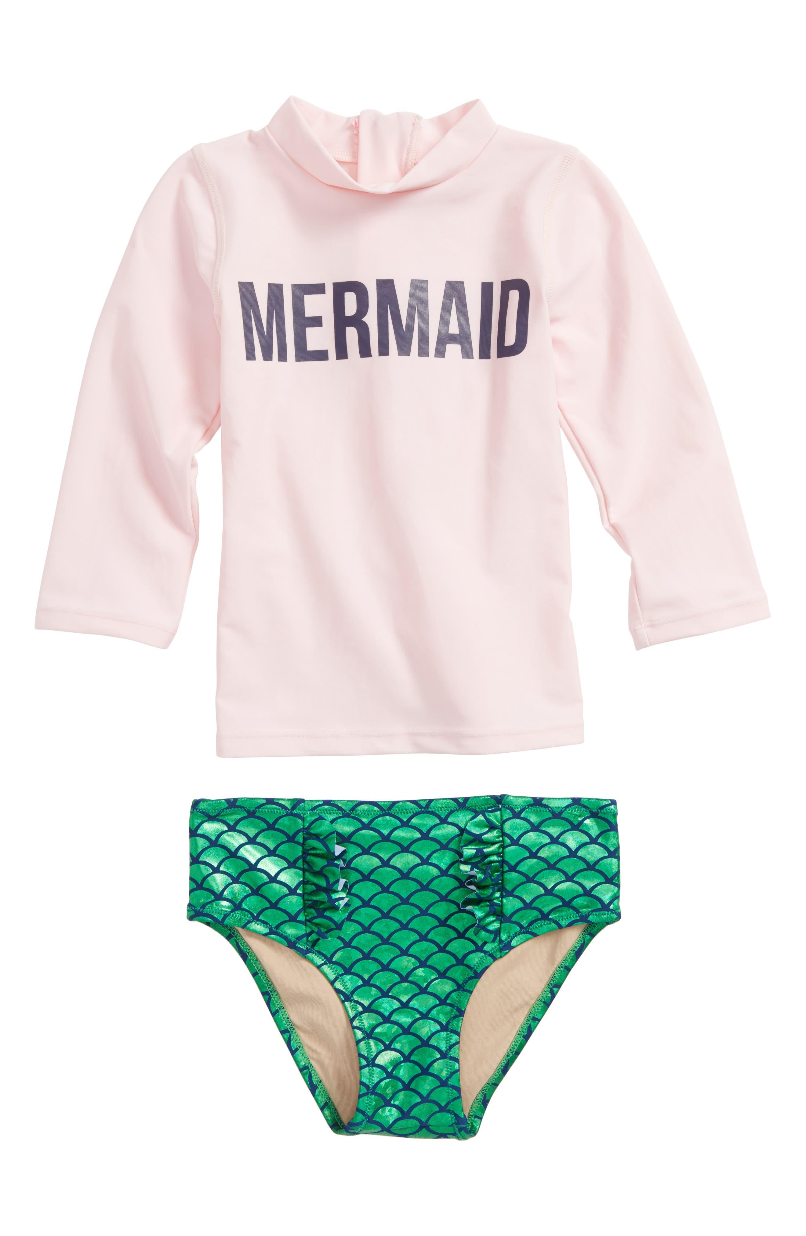 Magic Mermaid Two-Piece Rashguard Swimsuit,                         Main,                         color, Pink
