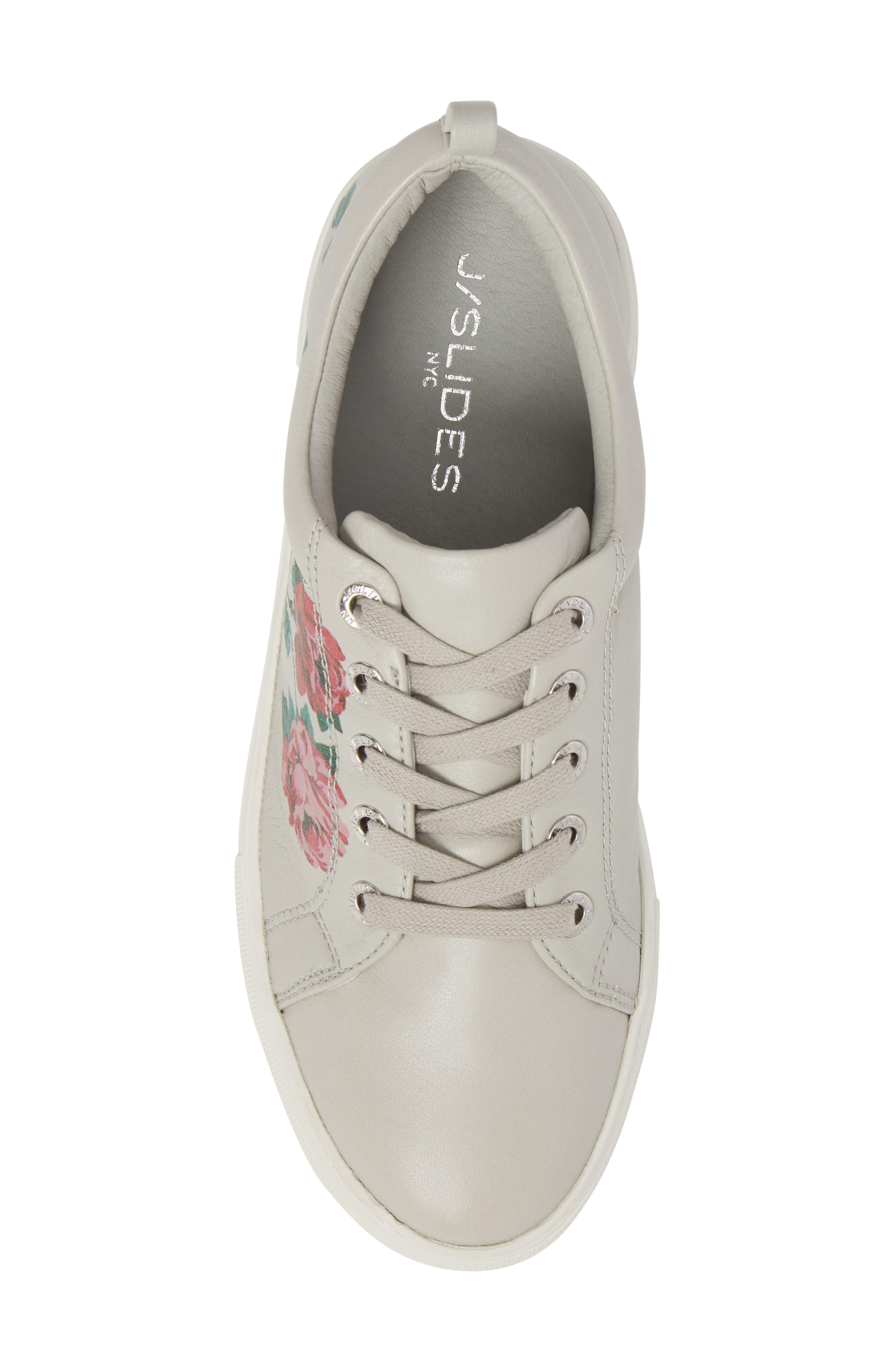 Adel Floral Sneaker,                             Alternate thumbnail 5, color,                             Light Grey Leather