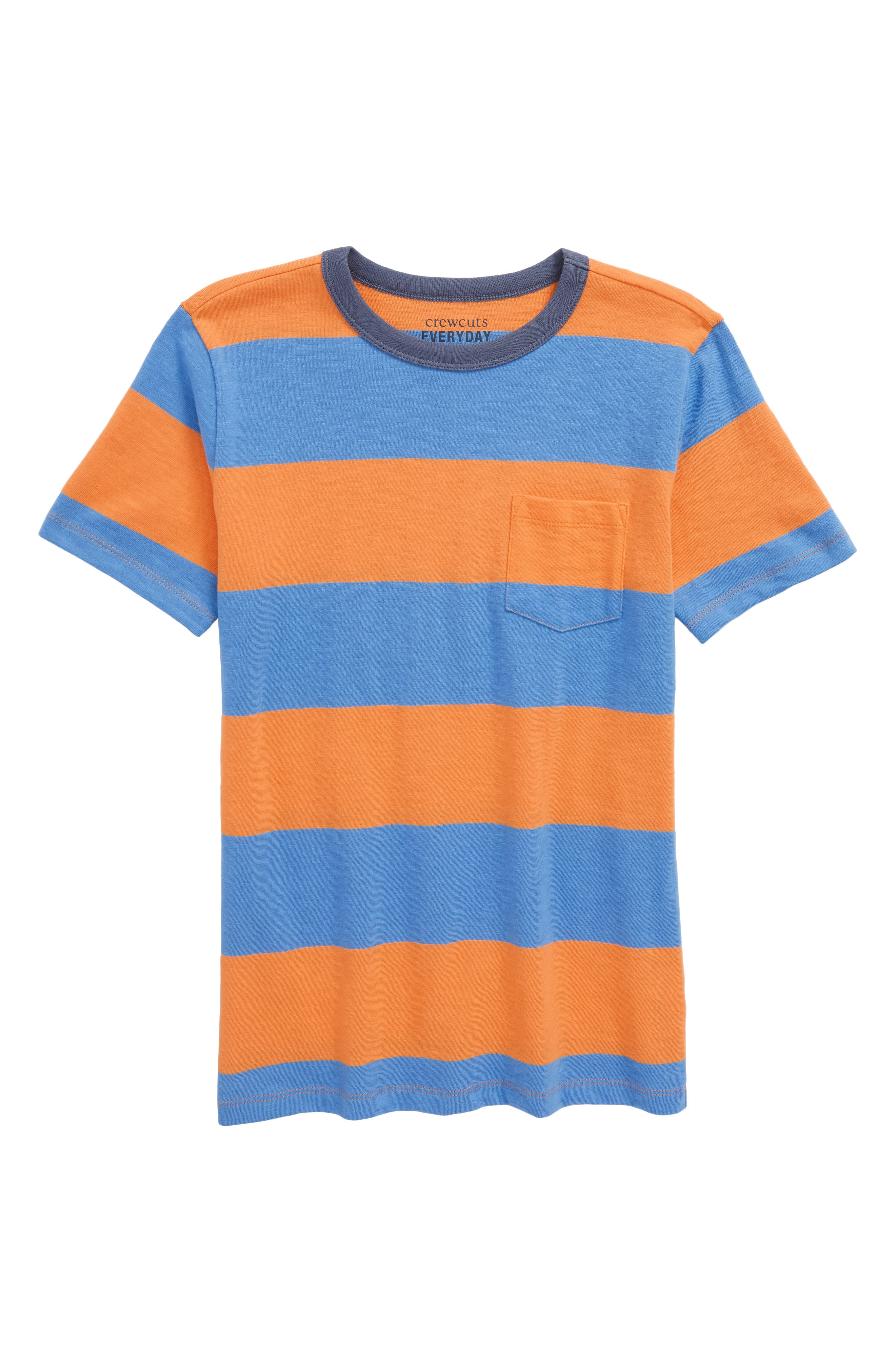 Double Rugby Stripe Shirt,                         Main,                         color, Bright Mango
