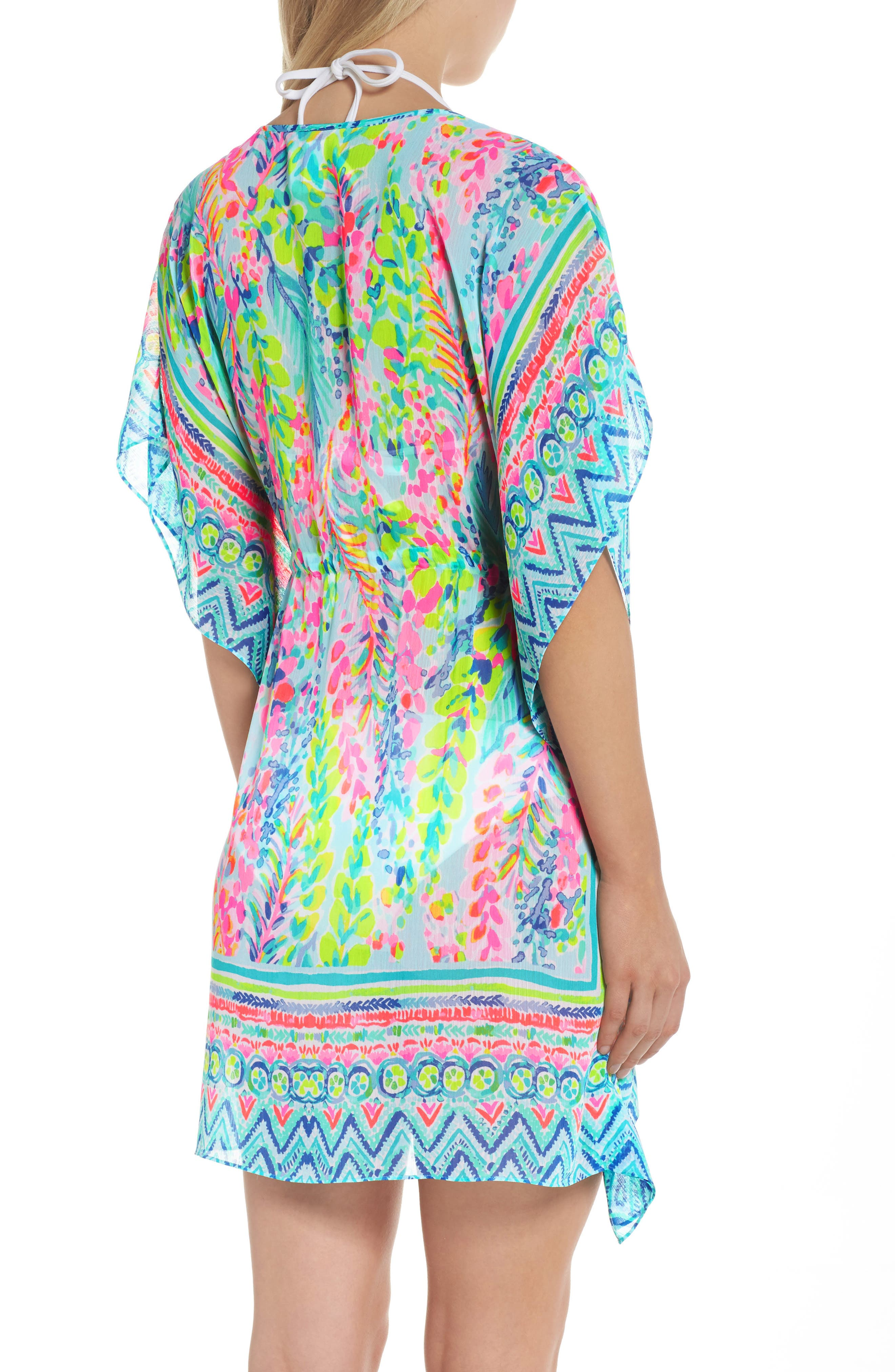 Gardenia Tie Waist Cover-Up,                             Alternate thumbnail 2, color,                             Multi Catch The Wave
