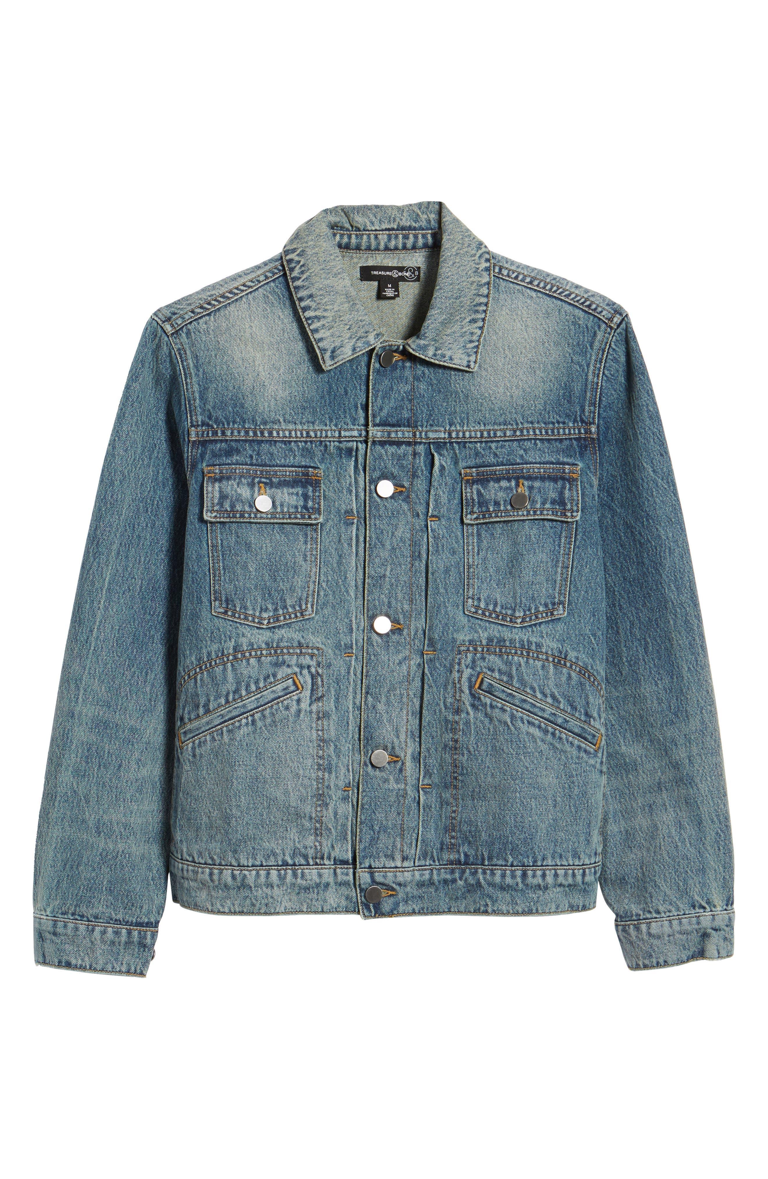 Denim Trucker Jacket,                             Alternate thumbnail 6, color,                             Blue Vintage Wash