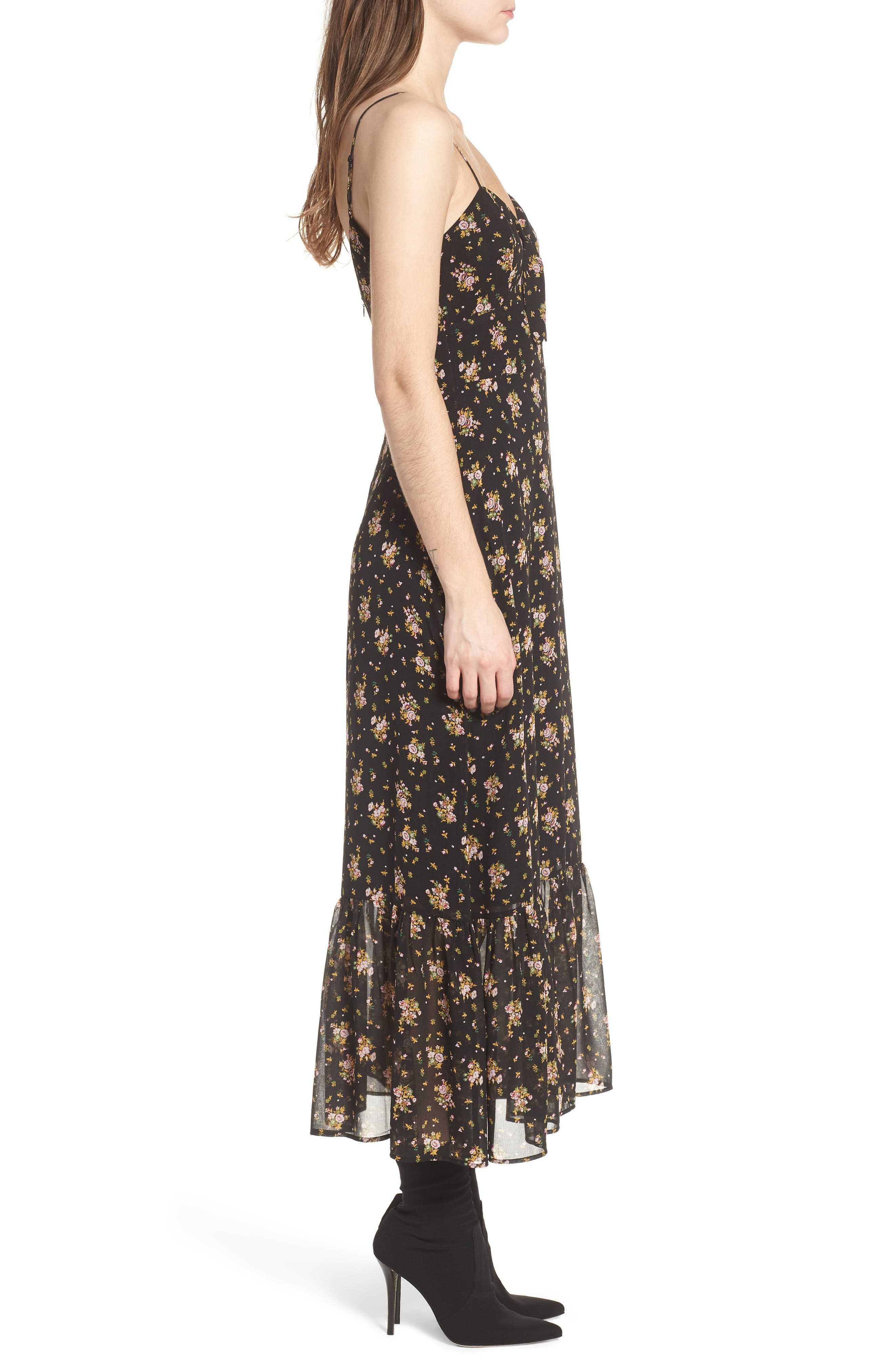 Tie Front Midi Dress,                             Alternate thumbnail 3, color,                             Black Ditzy Floral