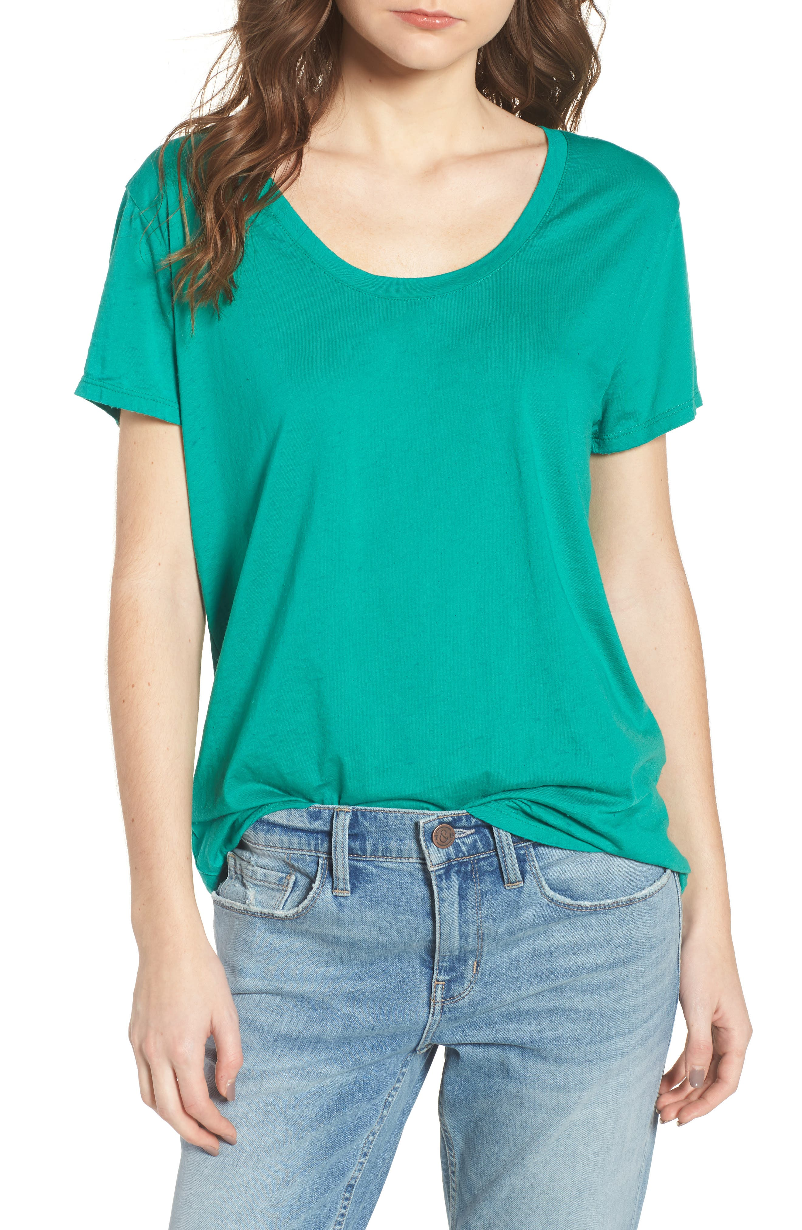 Burnout Boyfriend Tee,                             Main thumbnail 1, color,                             Green Lake