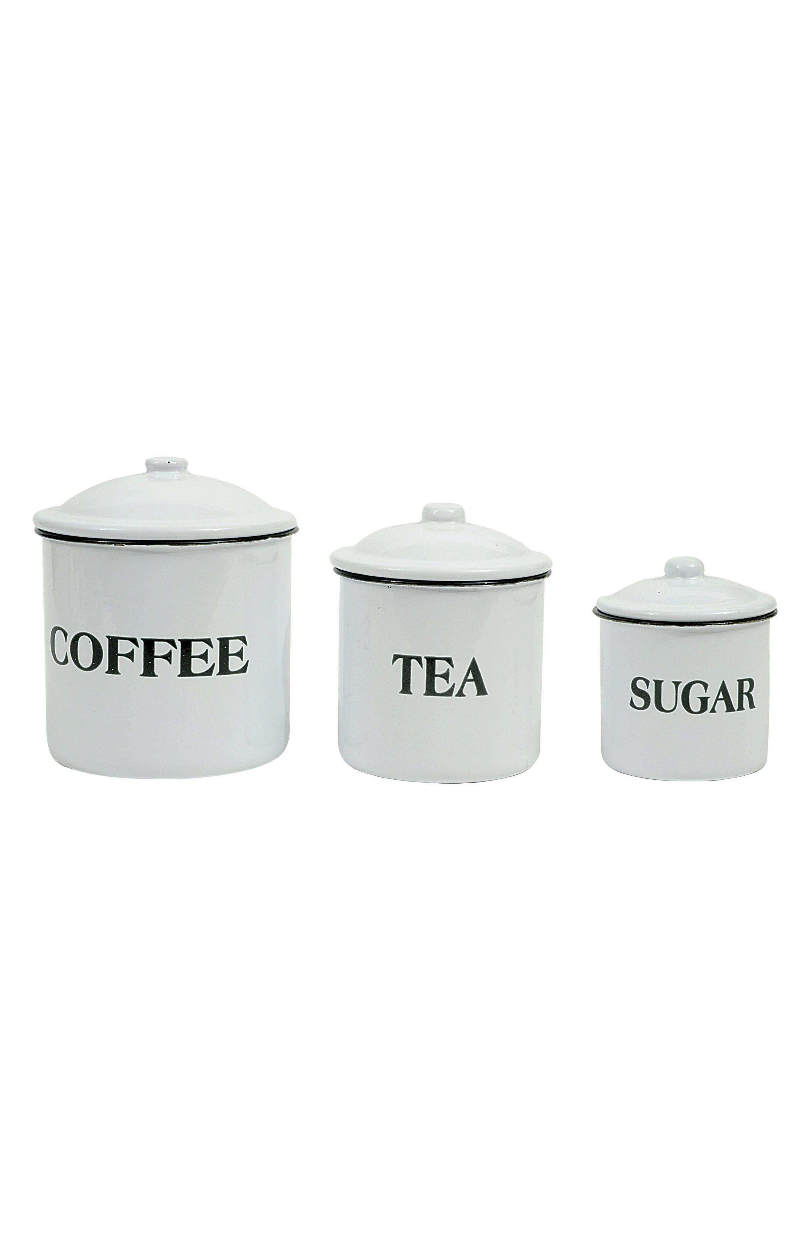 Set of 3 Enamel Containers,                         Main,                         color, White