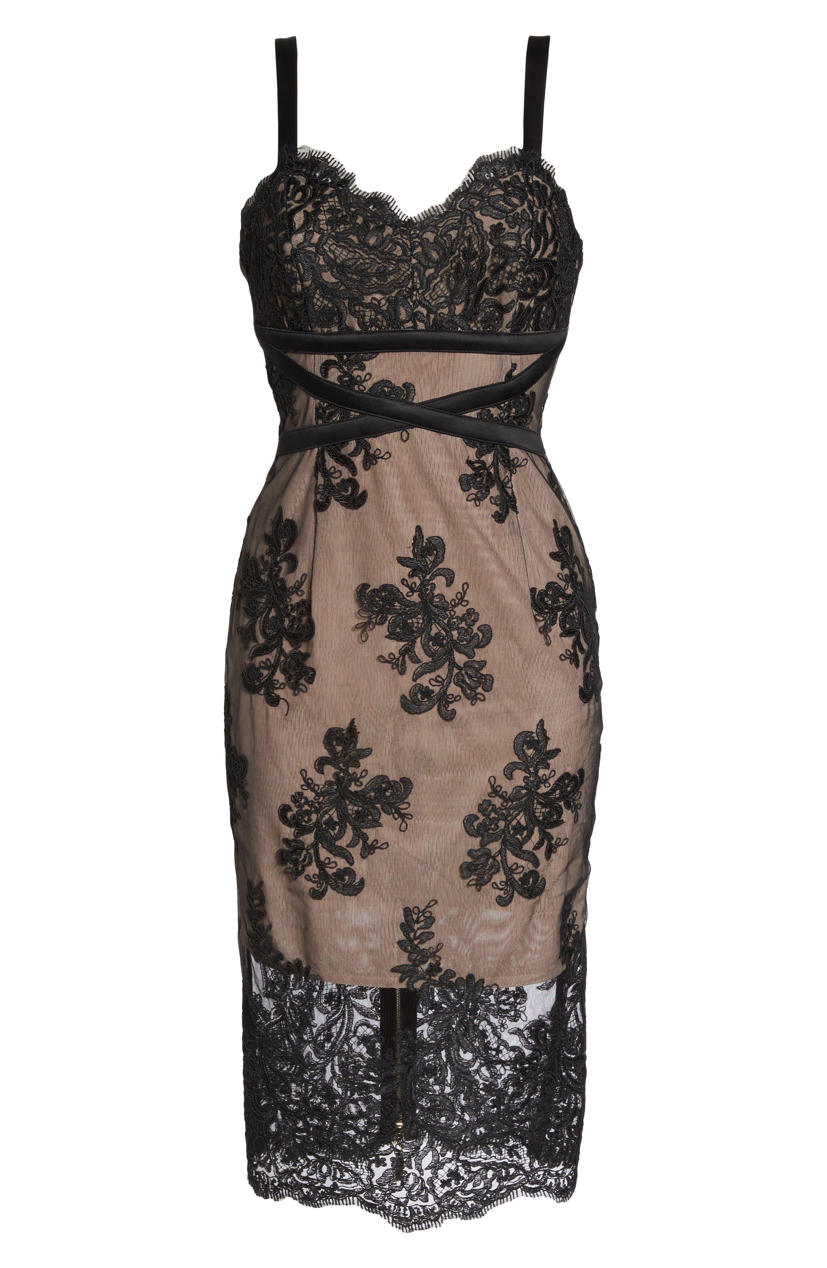 Camilla Lace Sheath Dress,                             Alternate thumbnail 6, color,                             Black