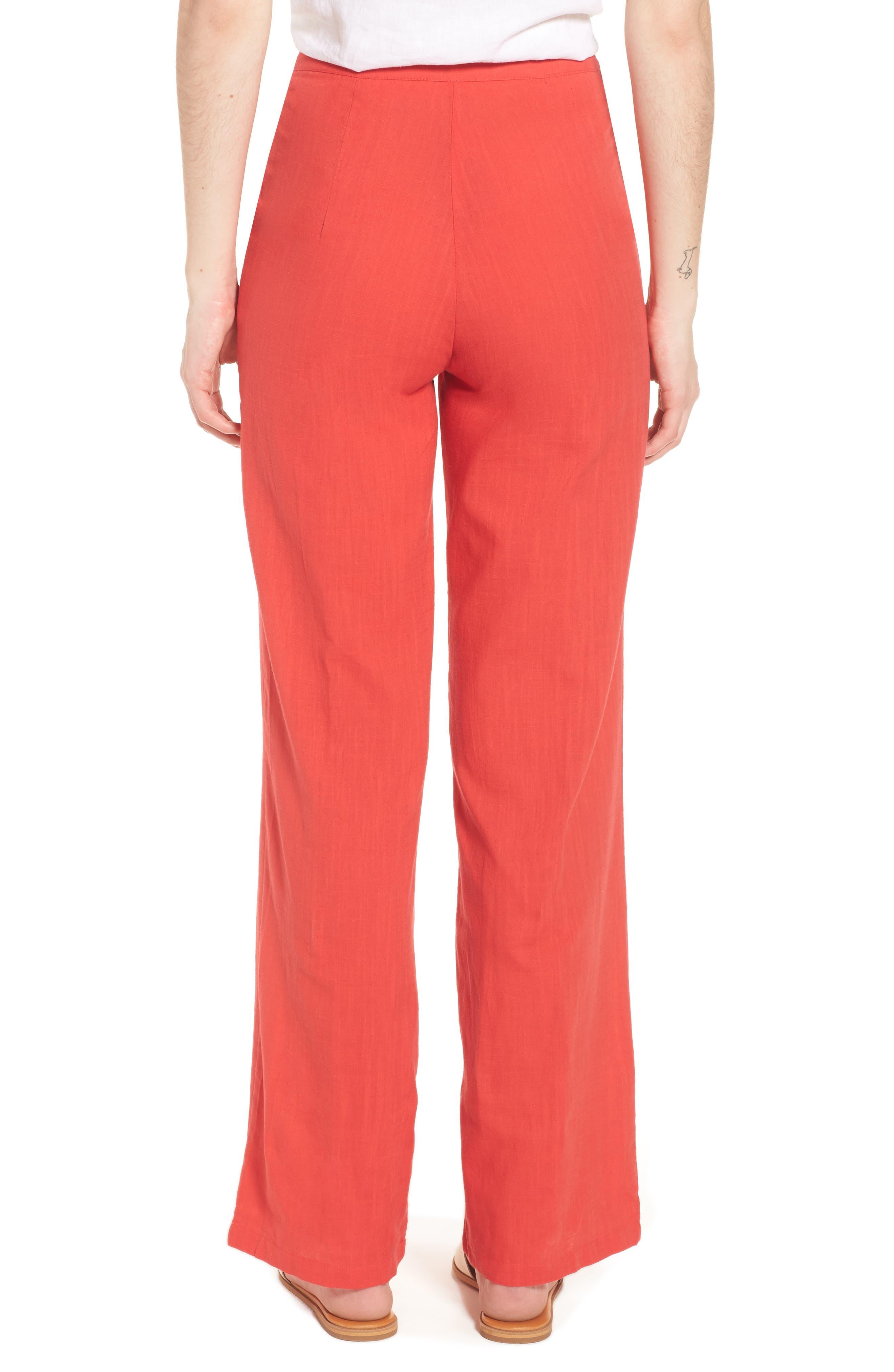 Femme Fatale High Waist Pants,                             Alternate thumbnail 2, color,                             Red