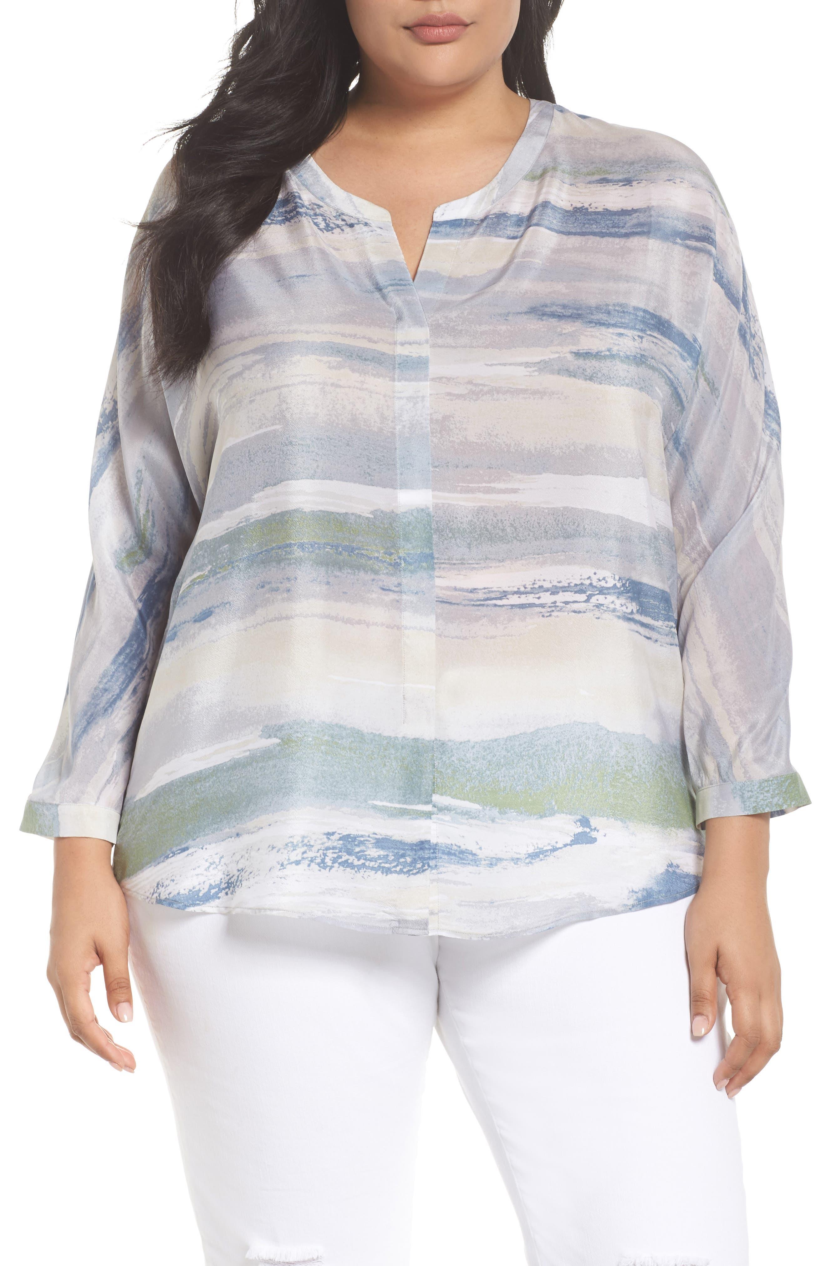 Watercolor Silk Blend Top,                         Main,                         color, Multi