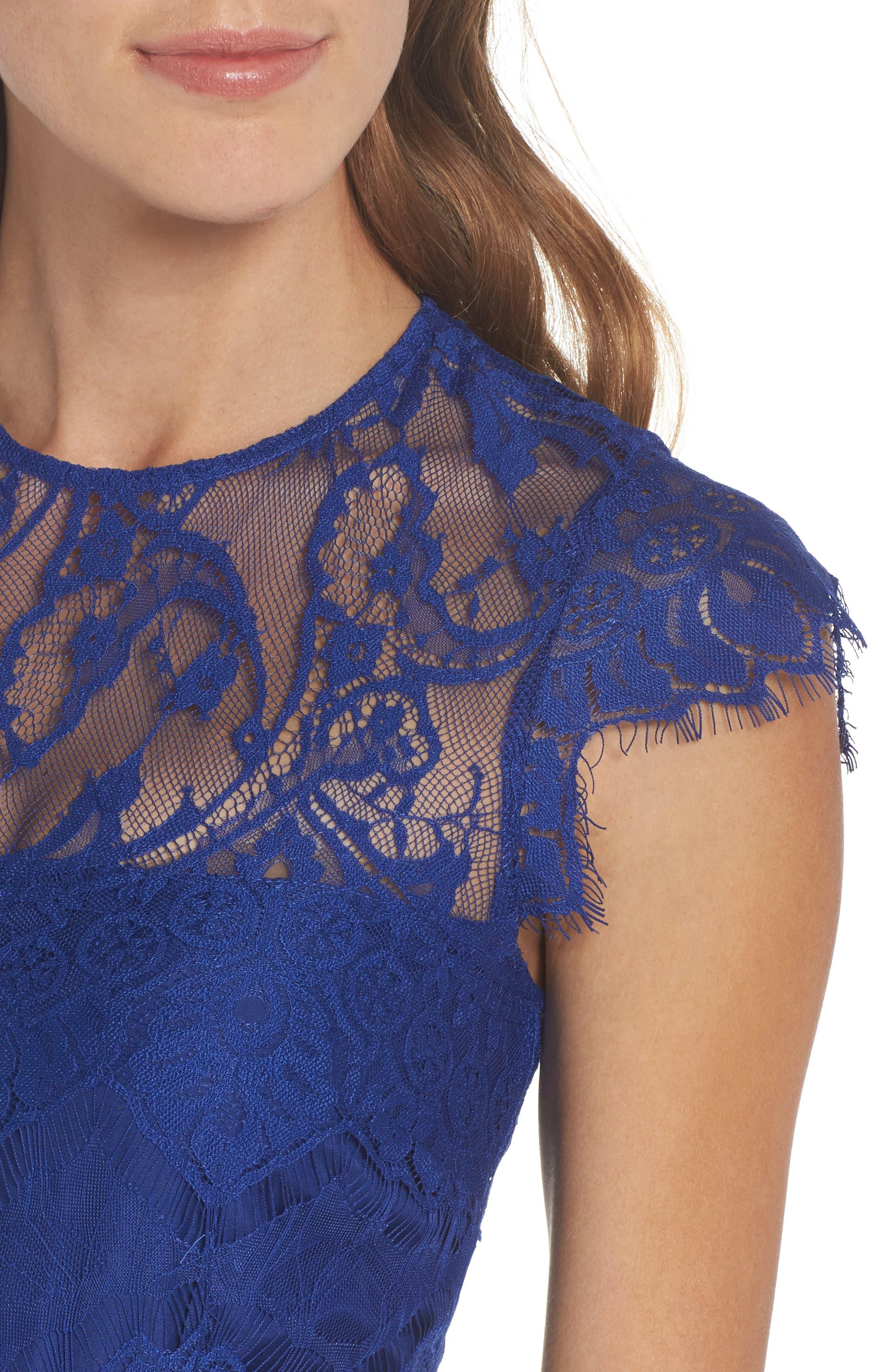 Jayce Lace Sheath Dress,                             Alternate thumbnail 4, color,                             Sapphire