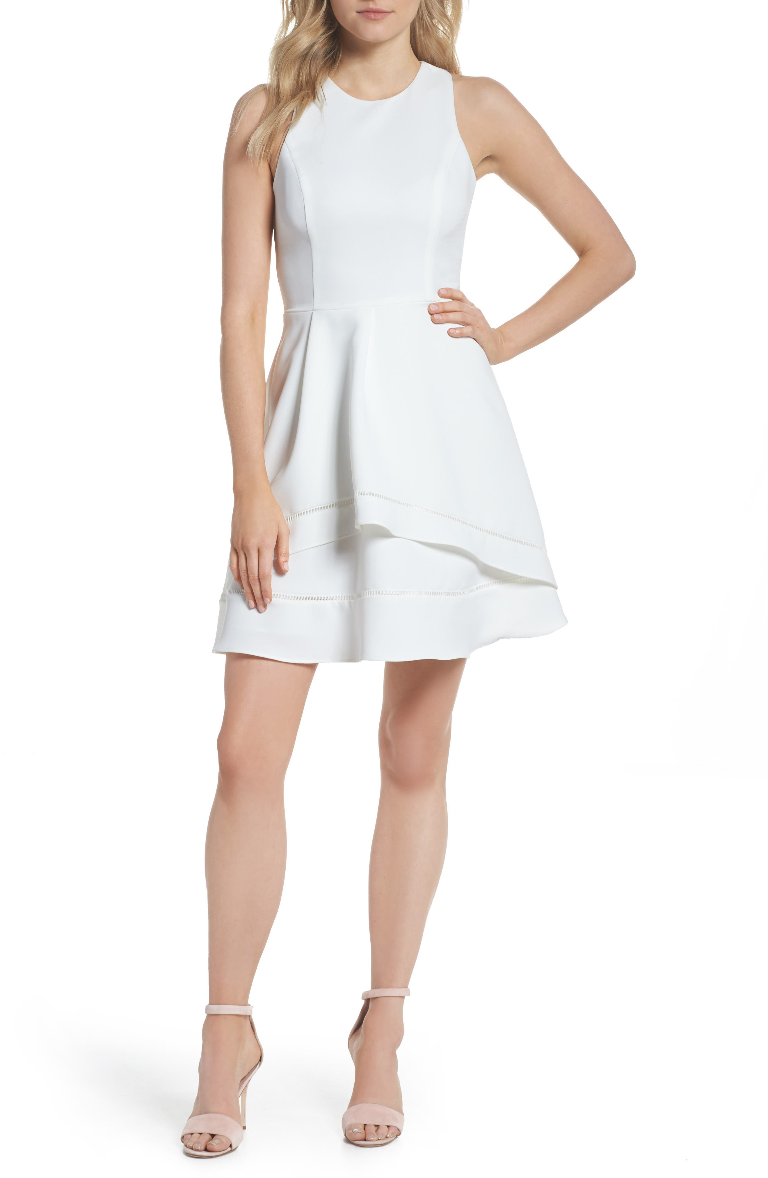 Gemma Fit & Flare Dress,                         Main,                         color, White