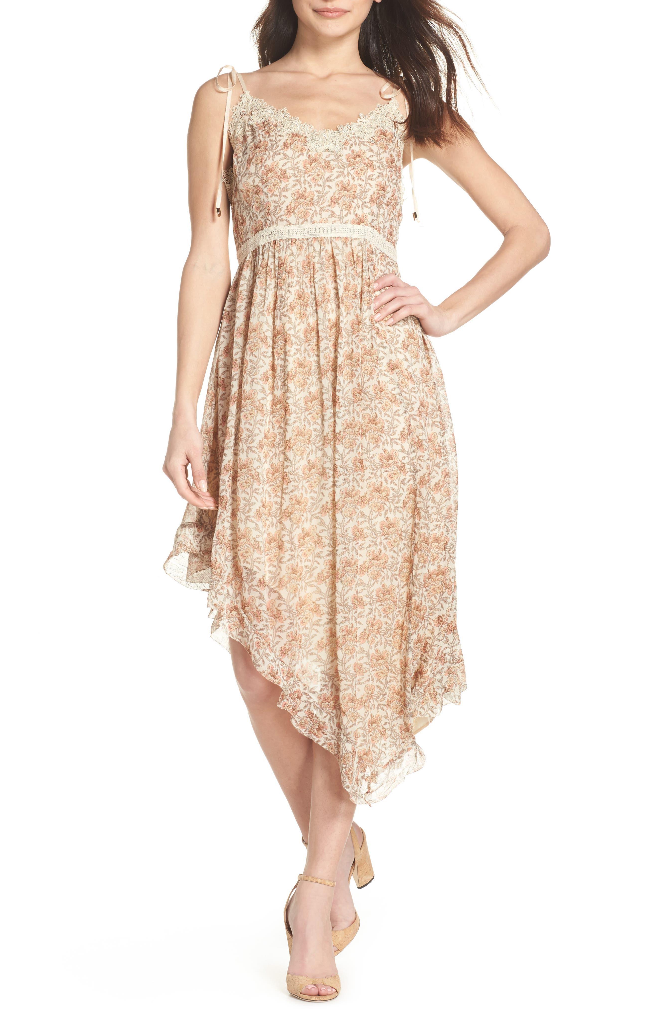 Aubrey Floral Print Dress,                             Main thumbnail 1, color,                             Desert Sunrise Floral