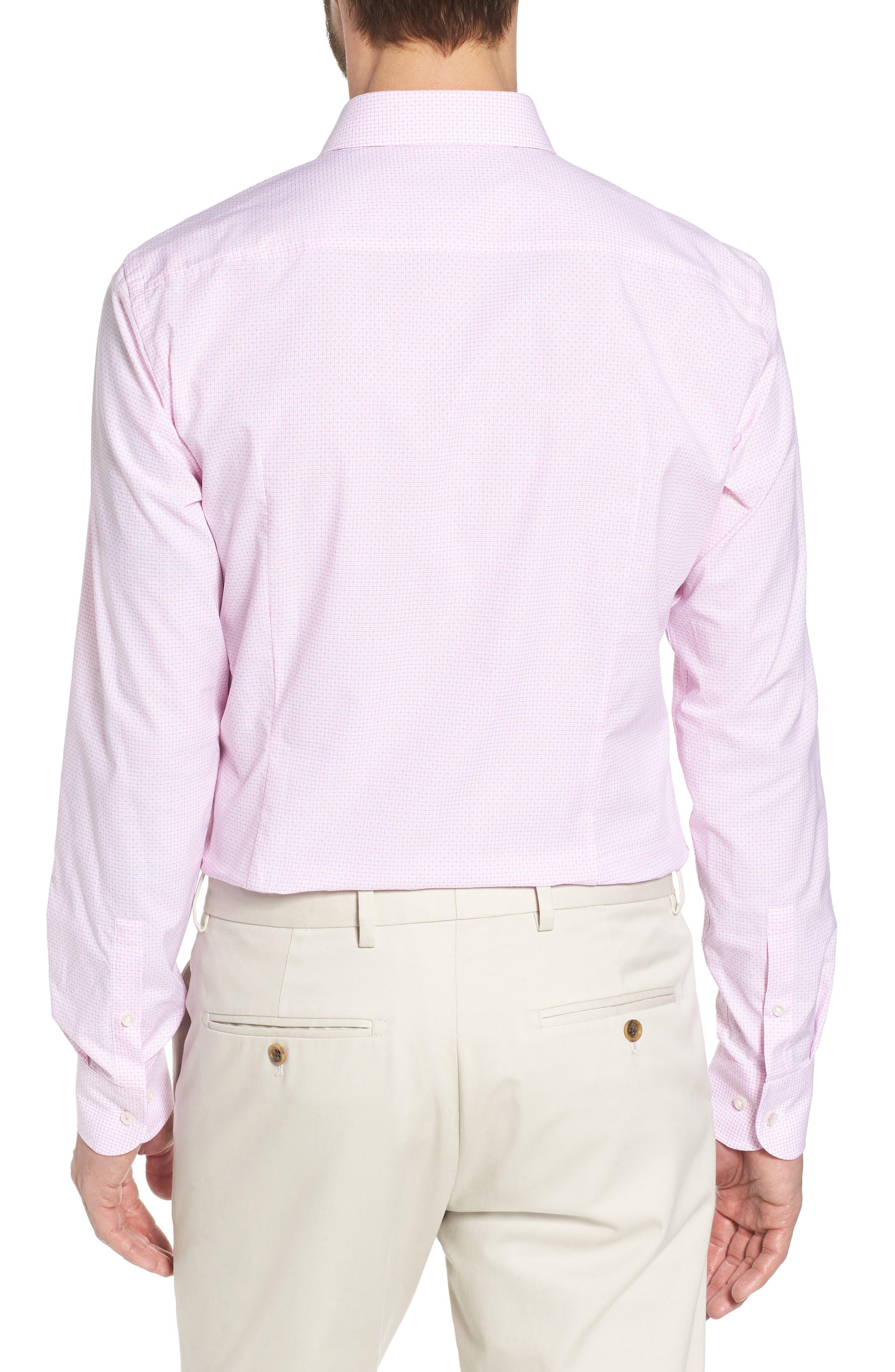 Jesse Slim Fit Check Dress Shirt,                             Alternate thumbnail 3, color,                             Pink