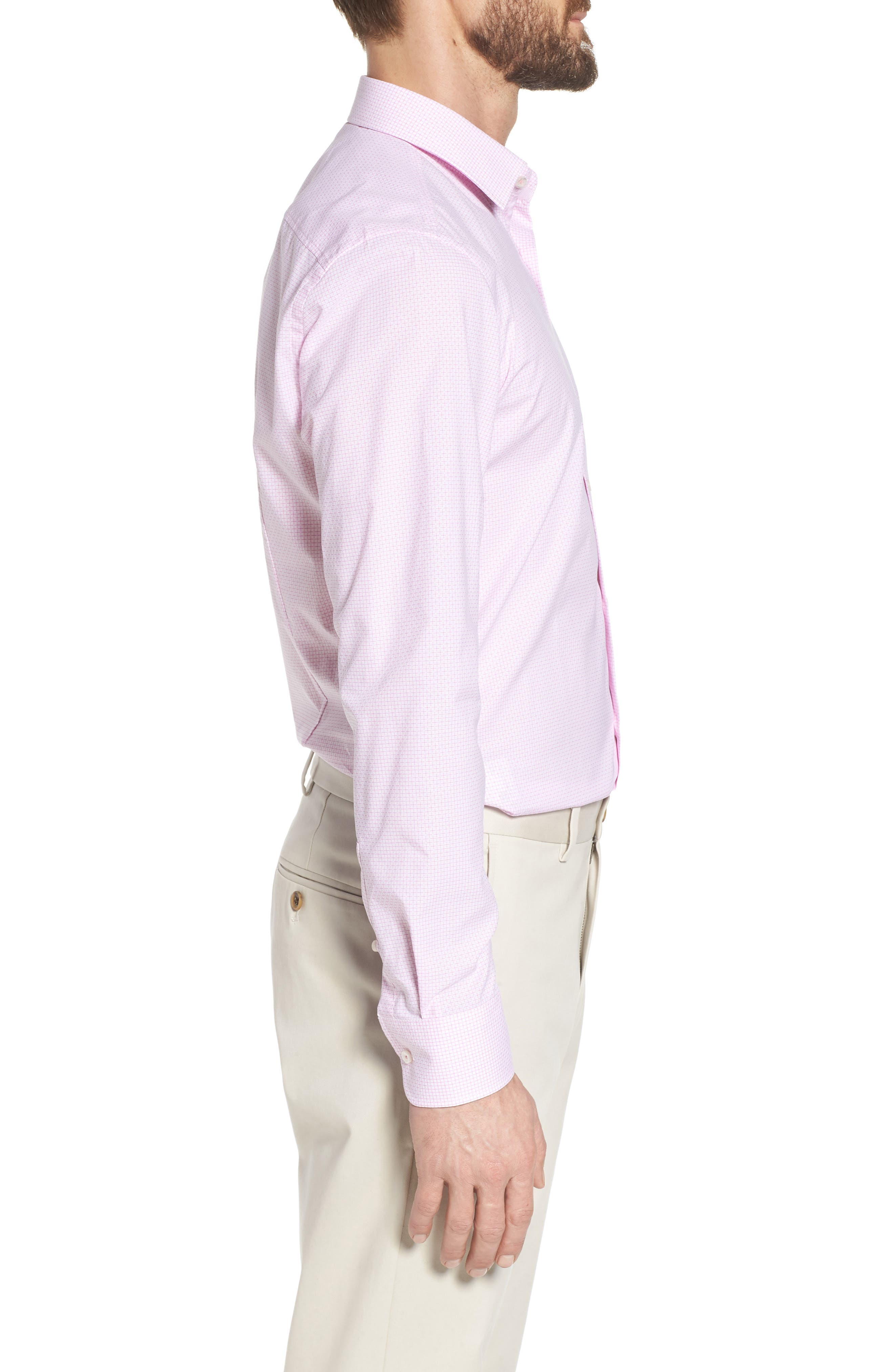 Jesse Slim Fit Check Dress Shirt,                             Alternate thumbnail 4, color,                             Pink