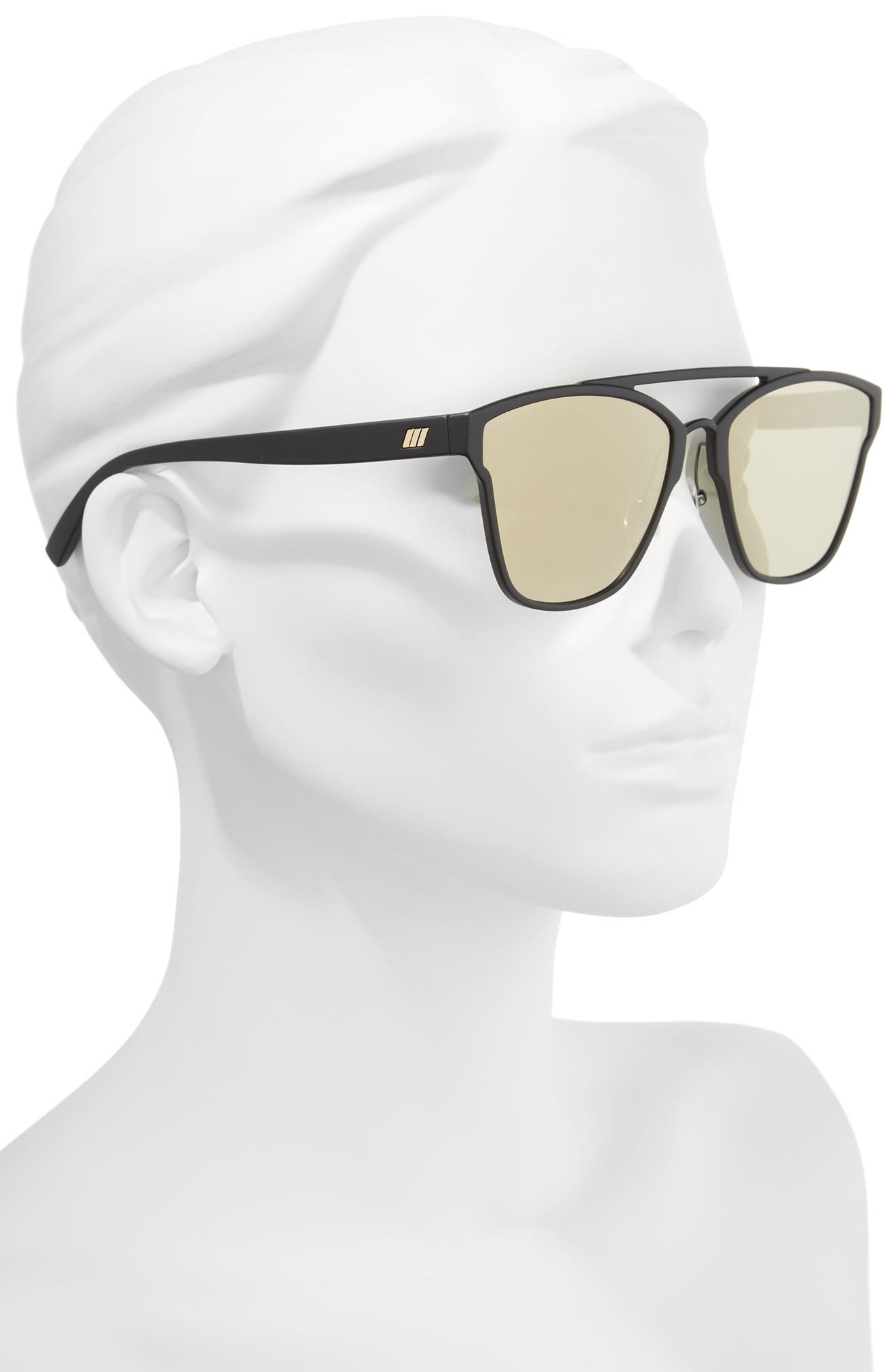 Herstory 55mm Aviator Sunglasses,                             Alternate thumbnail 2, color,                             Black Rubber