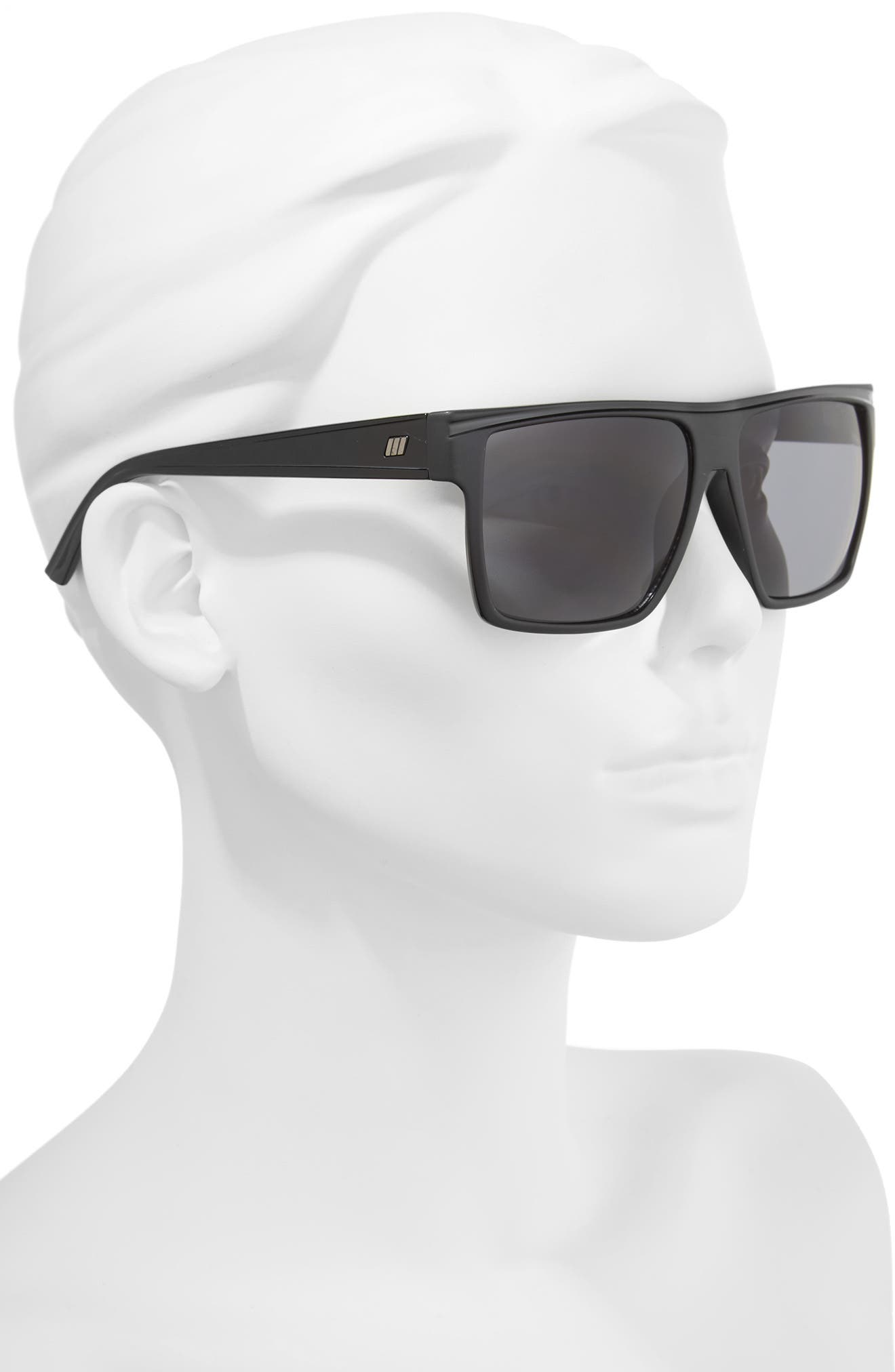 Dirty Magic 56mm Rectangle Sunglasses,                             Alternate thumbnail 2, color,                             Matte Black