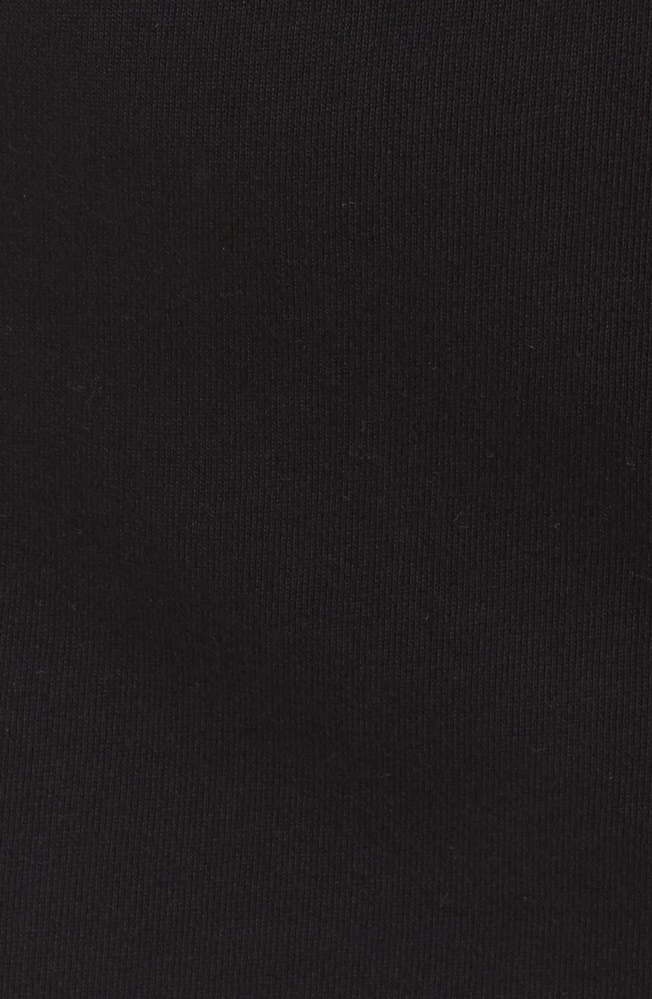 Off-Duty Hooded Sweatshirt Dress,                             Alternate thumbnail 5, color,                             Black