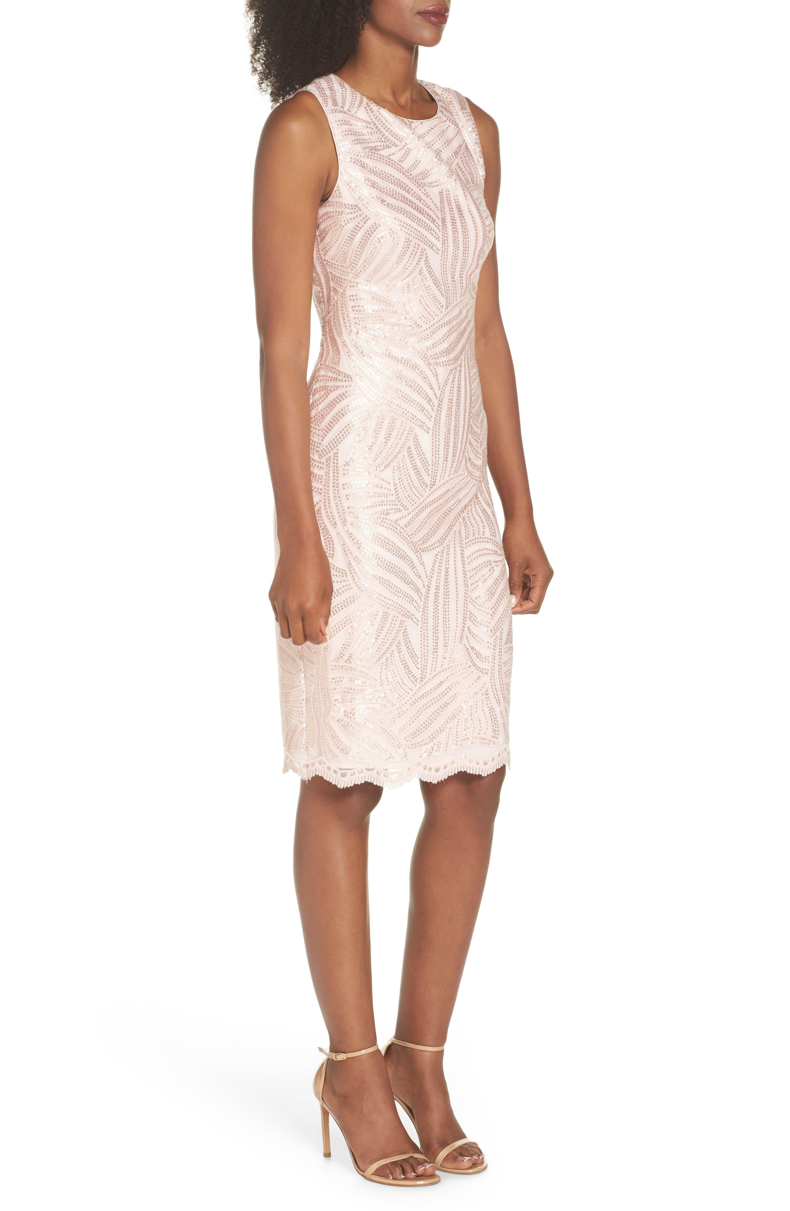 Sleeveless Sequin Sheath Dress,                             Alternate thumbnail 3, color,                             Light Pink