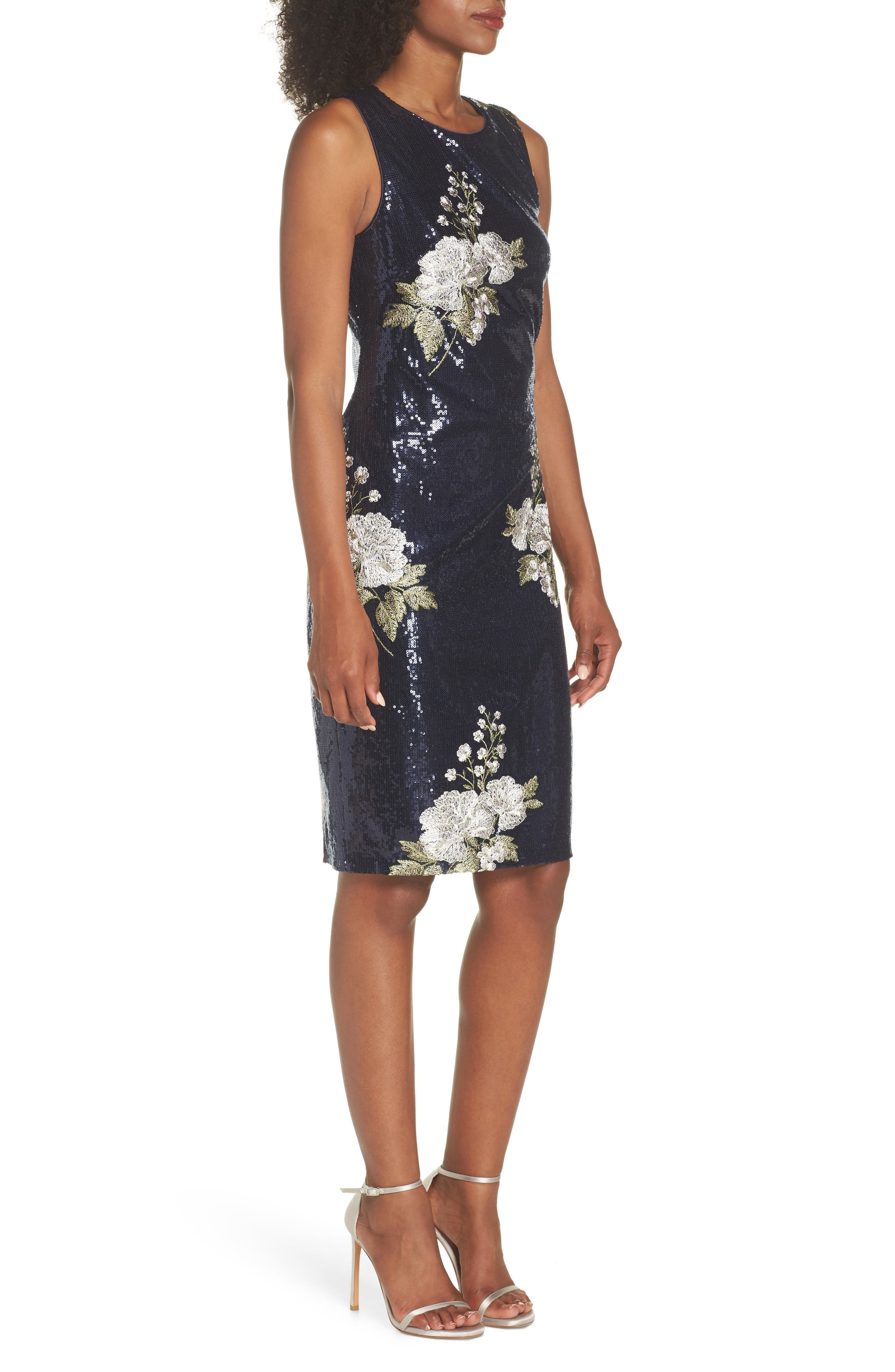 Sequin & Embroidery Sheath Dress,                             Alternate thumbnail 3, color,                             Navy