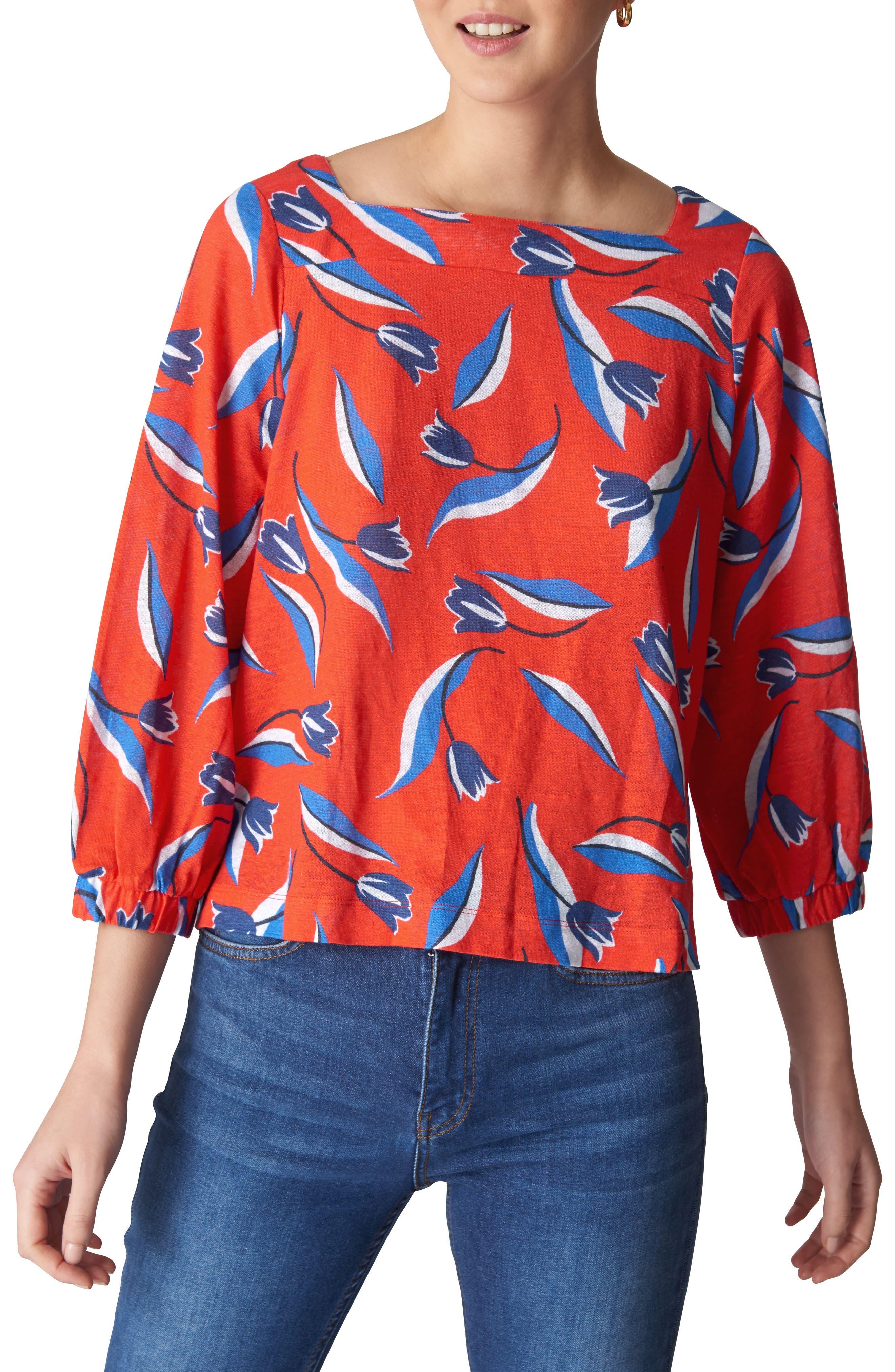 Tulip Print Linen Top,                         Main,                         color, Red/ Multi