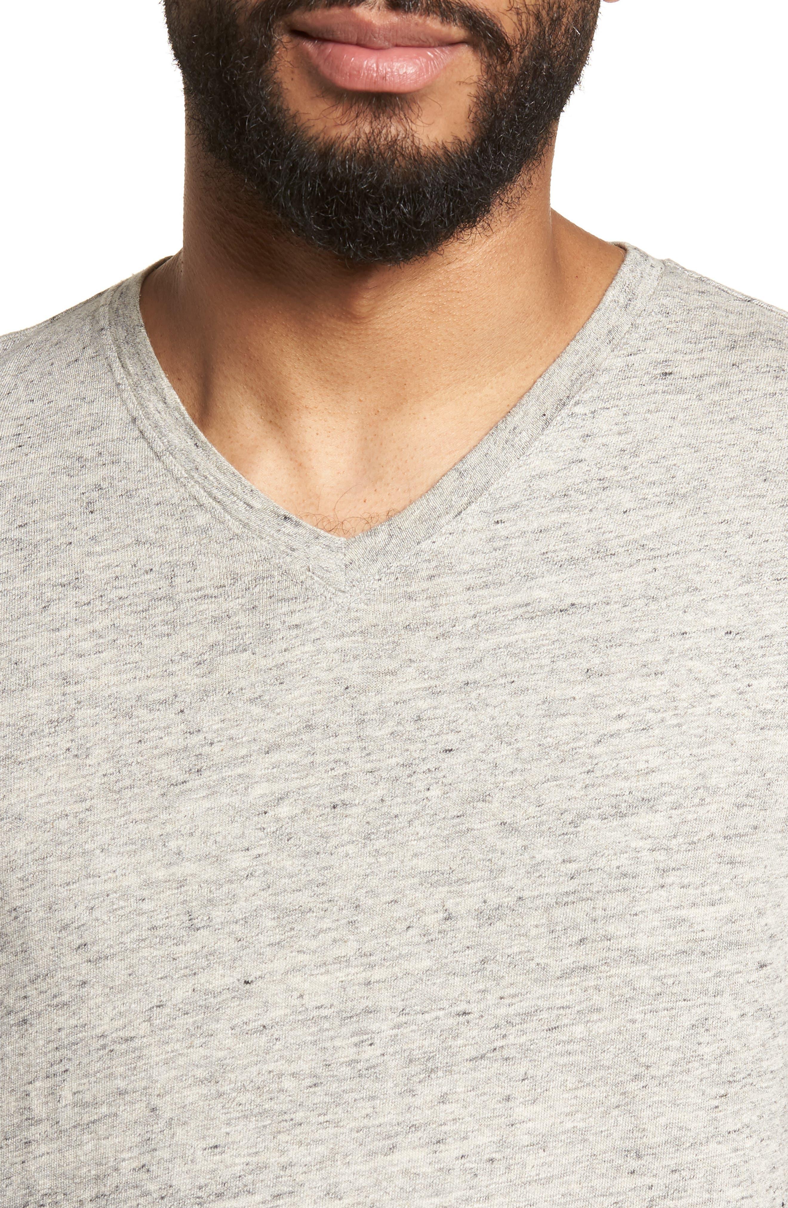 Slim Fit V-Neck T-Shirt,                             Alternate thumbnail 4, color,                             Grey