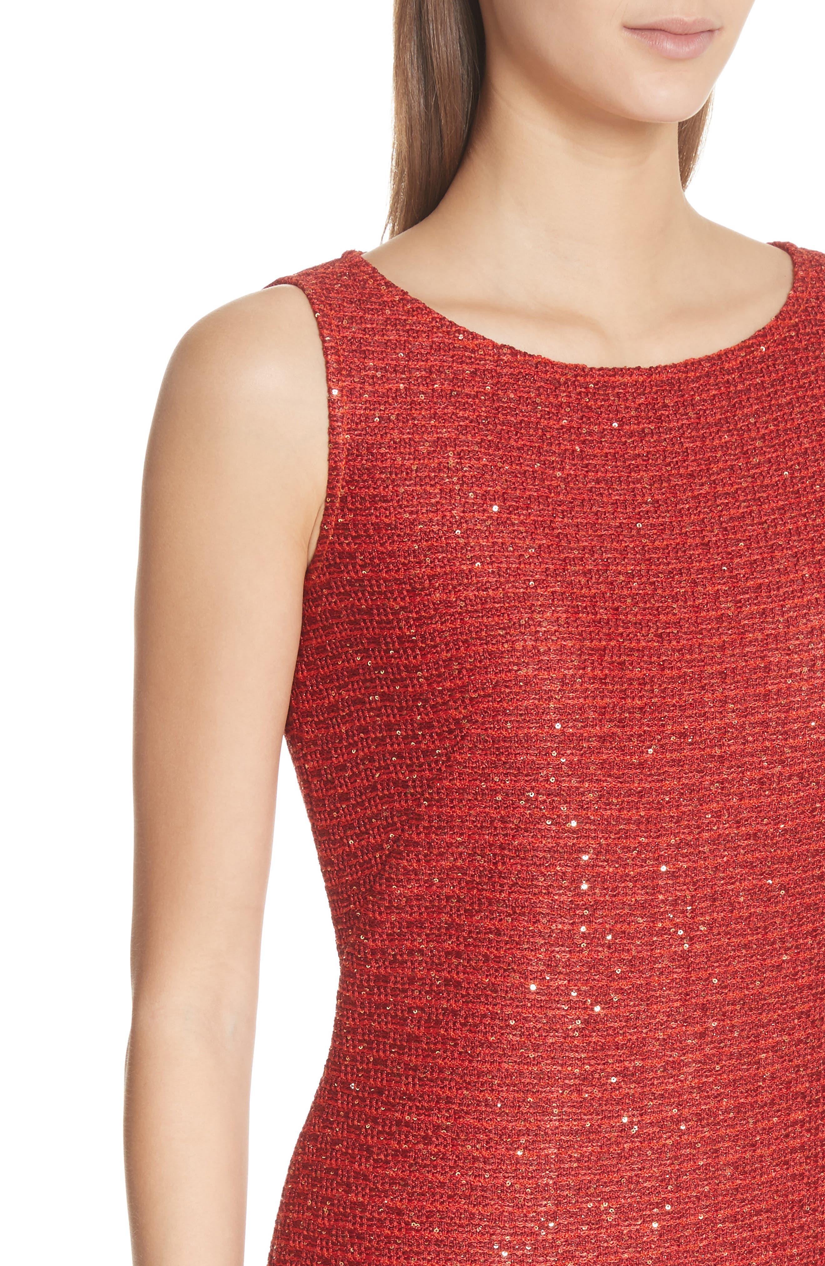 Glamour Sequin Knit Sheath Dress,                             Alternate thumbnail 4, color,                             Sienna Multi