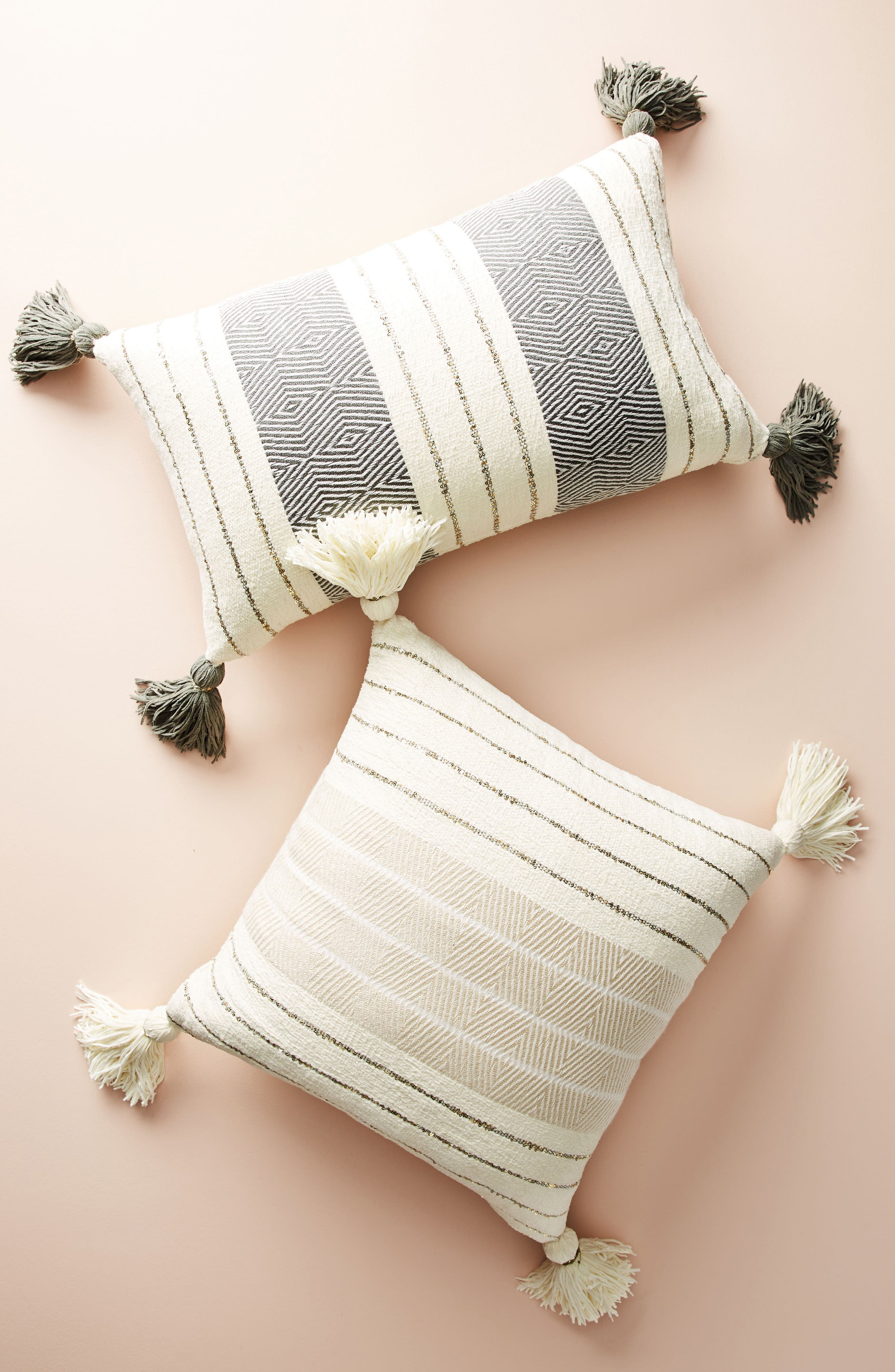 Caroline Accent Pillow,                             Alternate thumbnail 3, color,                             Ivory