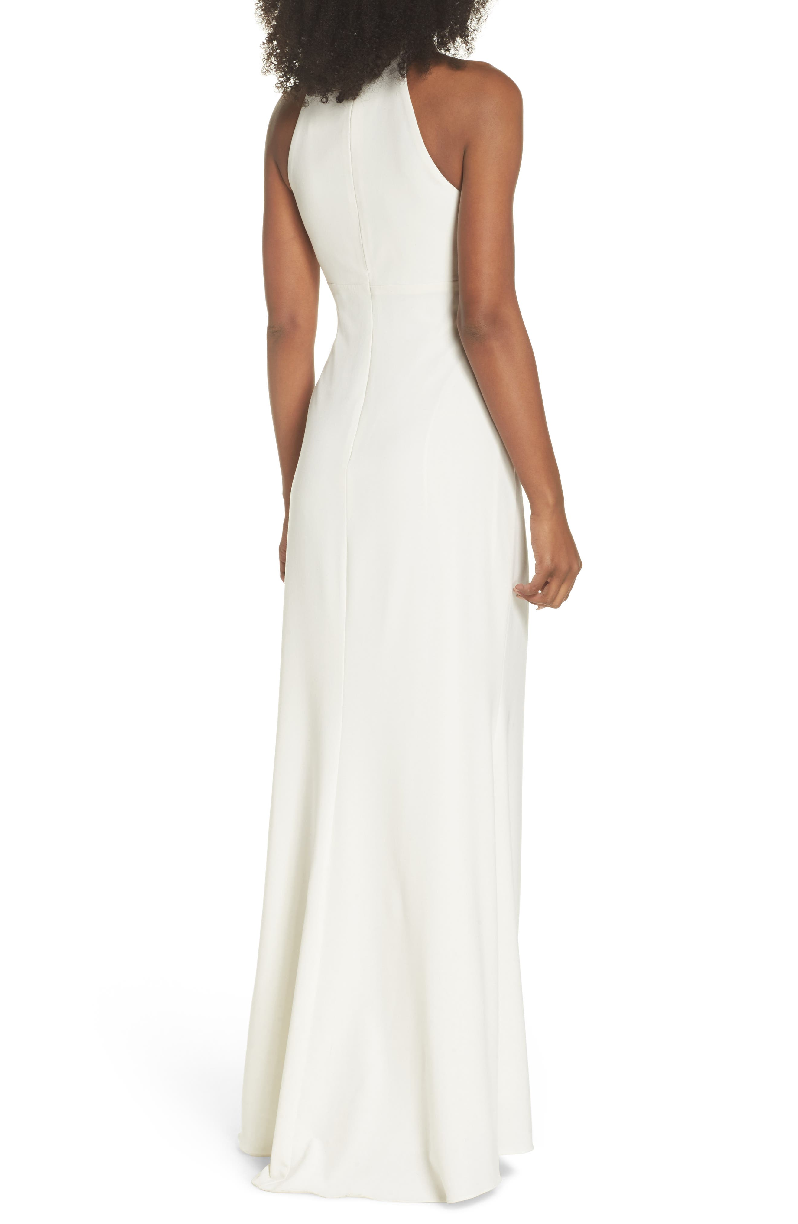 Side Pleat Crossneck Gown,                             Alternate thumbnail 2, color,                             Ivory