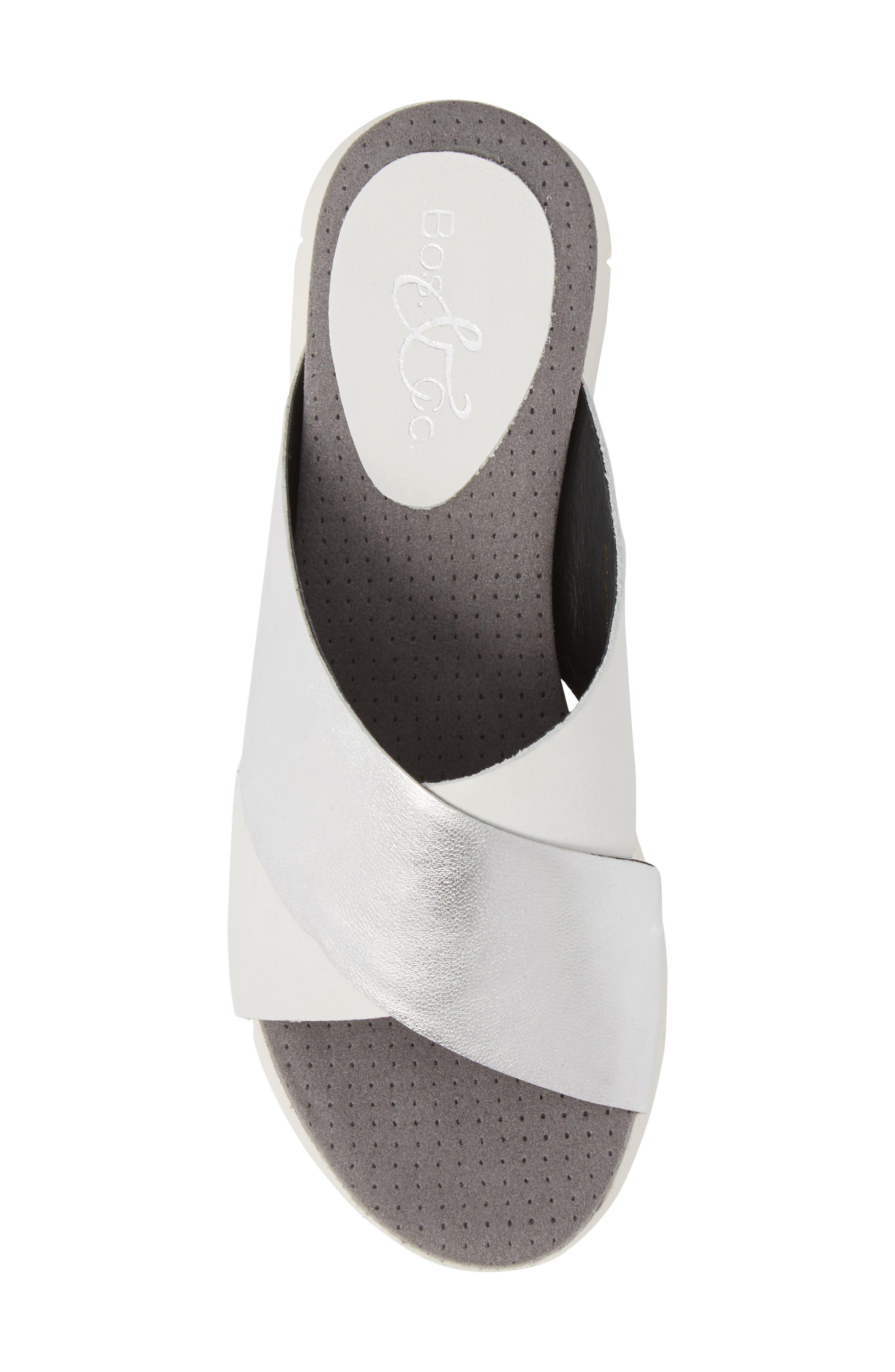 Piney Slide Sandal,                             Alternate thumbnail 5, color,                             White/ Silver Leather