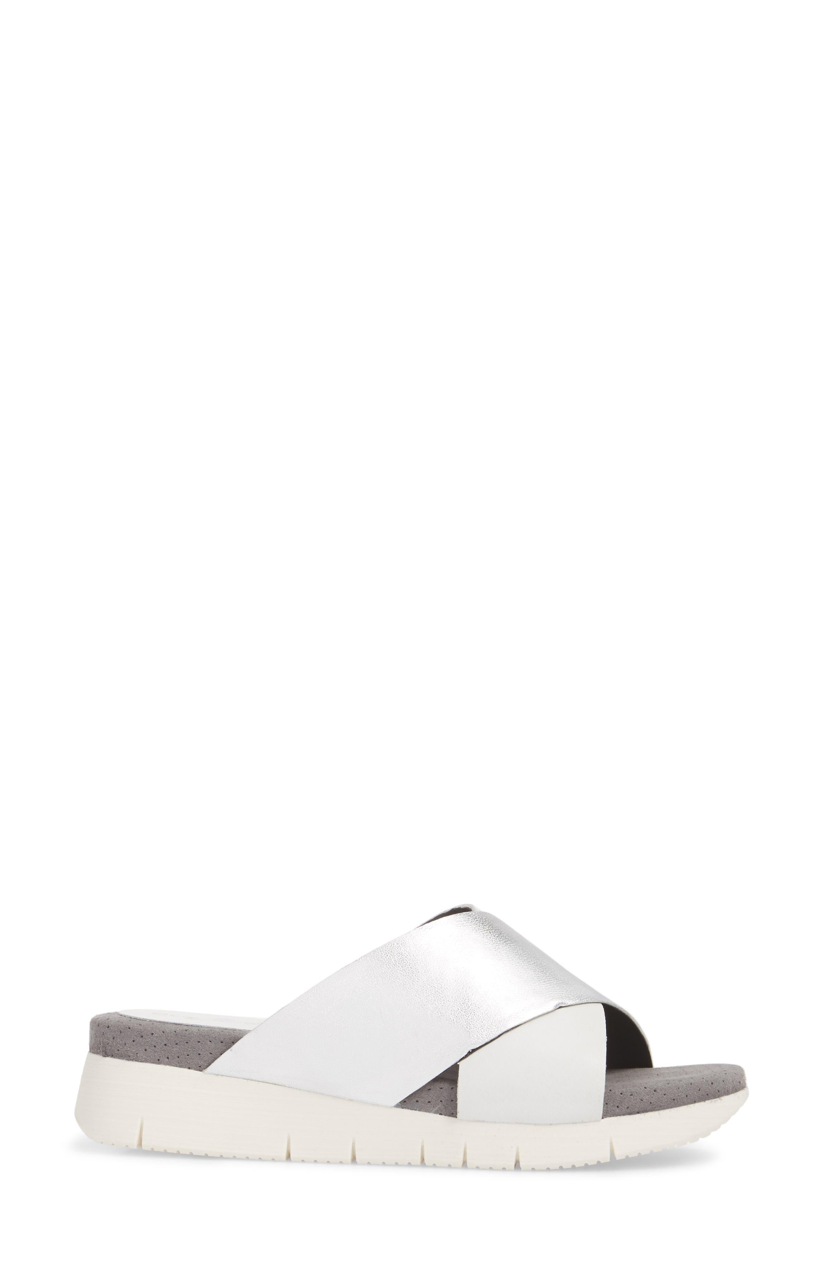 Piney Slide Sandal,                             Alternate thumbnail 3, color,                             White/ Silver Leather