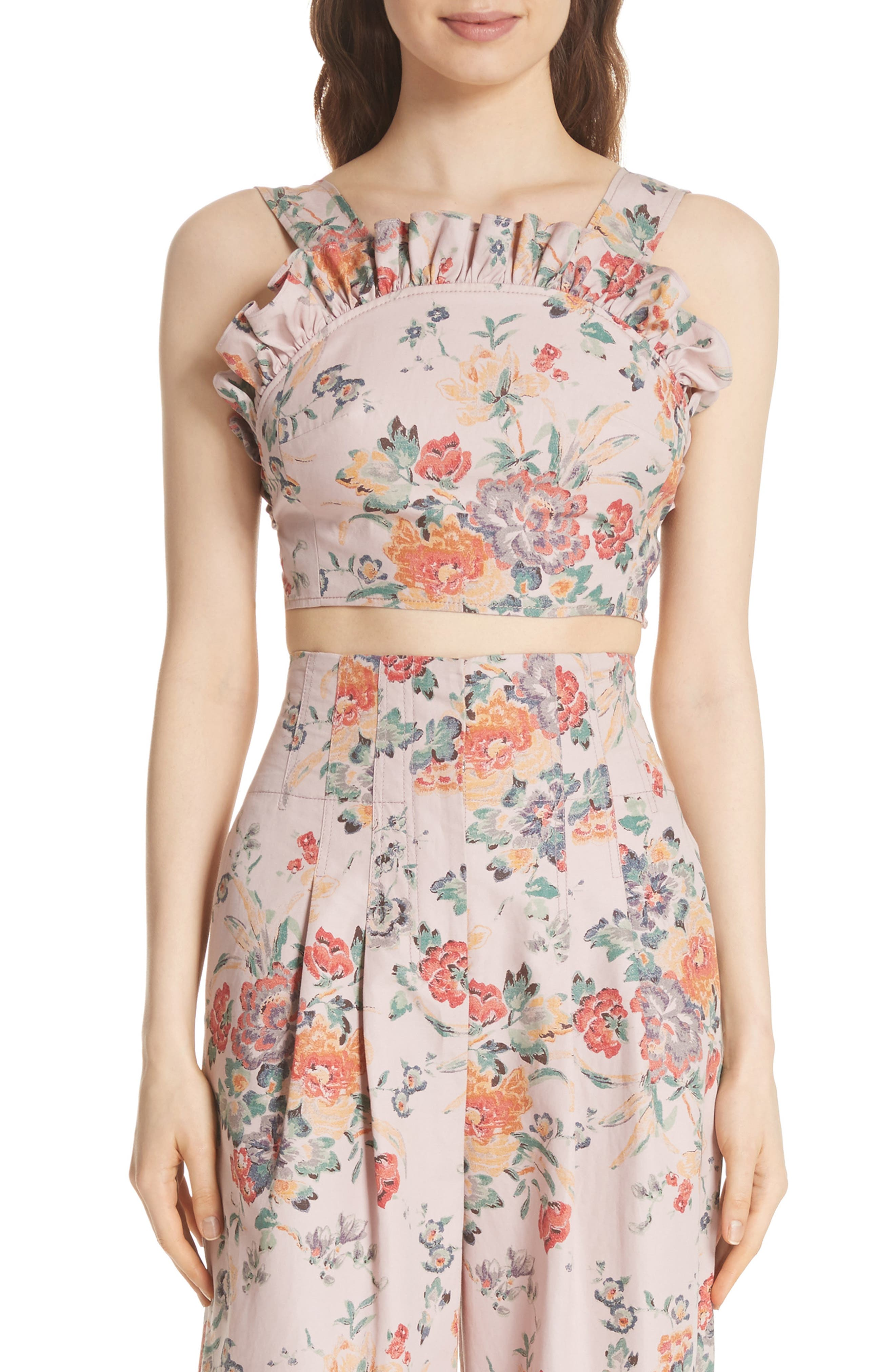 Marlena Floral Linen Blend Ruffle Top,                         Main,                         color, Dusty Rose Combo