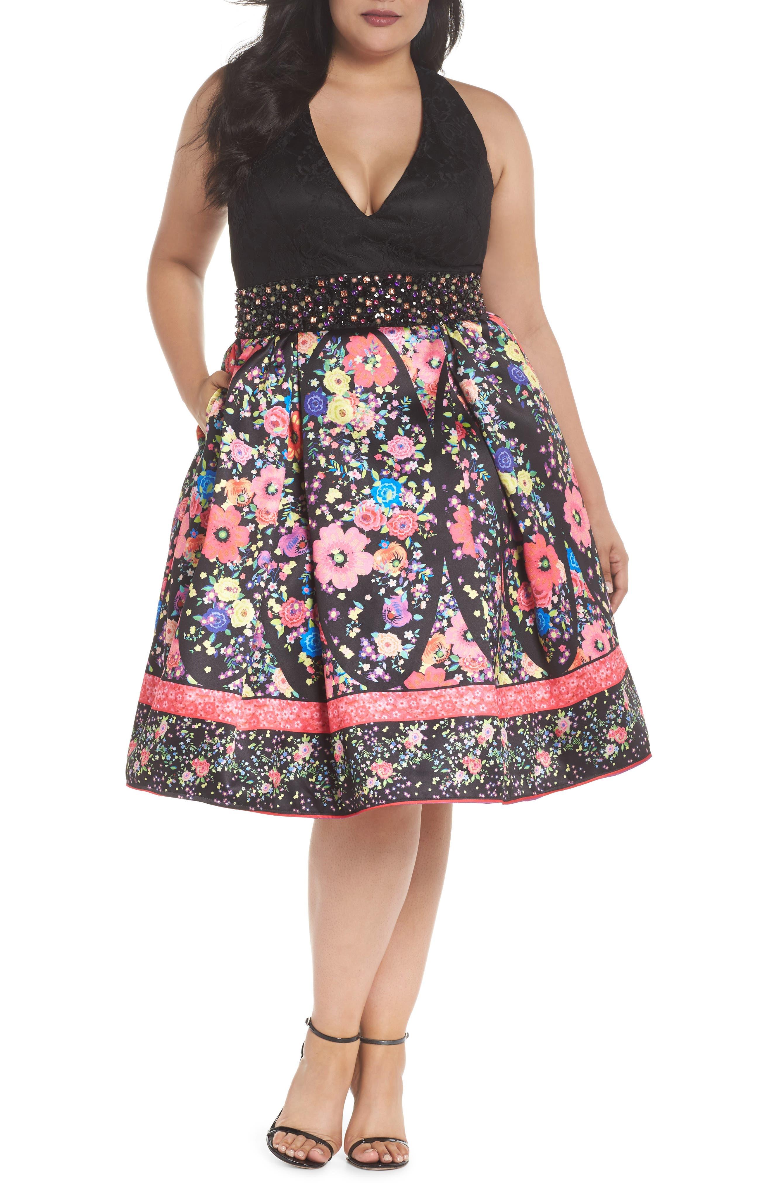 Lace & Floral Halter Fit & Flare Dress,                         Main,                         color, Black/ Multi