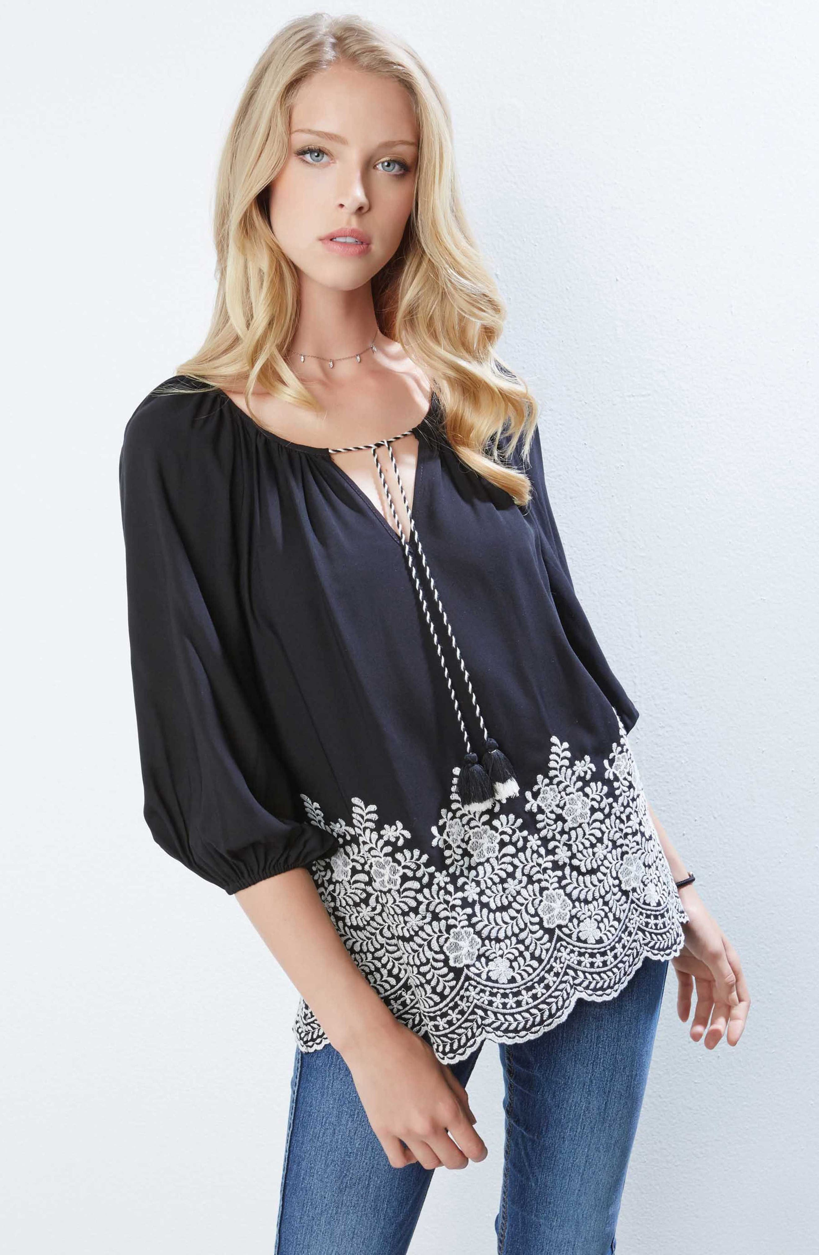 Embroidered Tassel Tie Top,                             Alternate thumbnail 3, color,                             Black