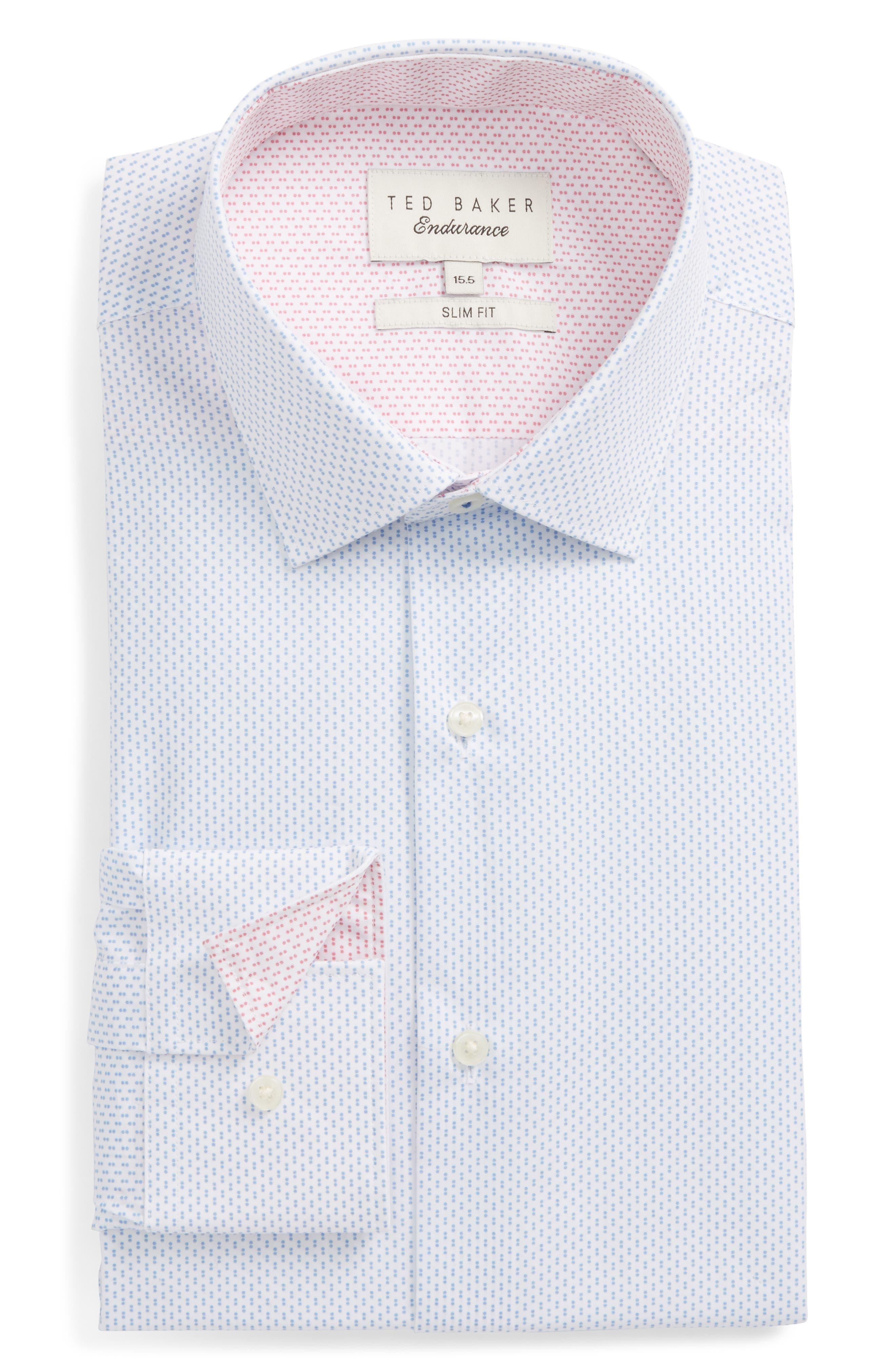 Endurance Barged Slim Fit Double Dot Dress Shirt,                             Main thumbnail 1, color,                             Blue