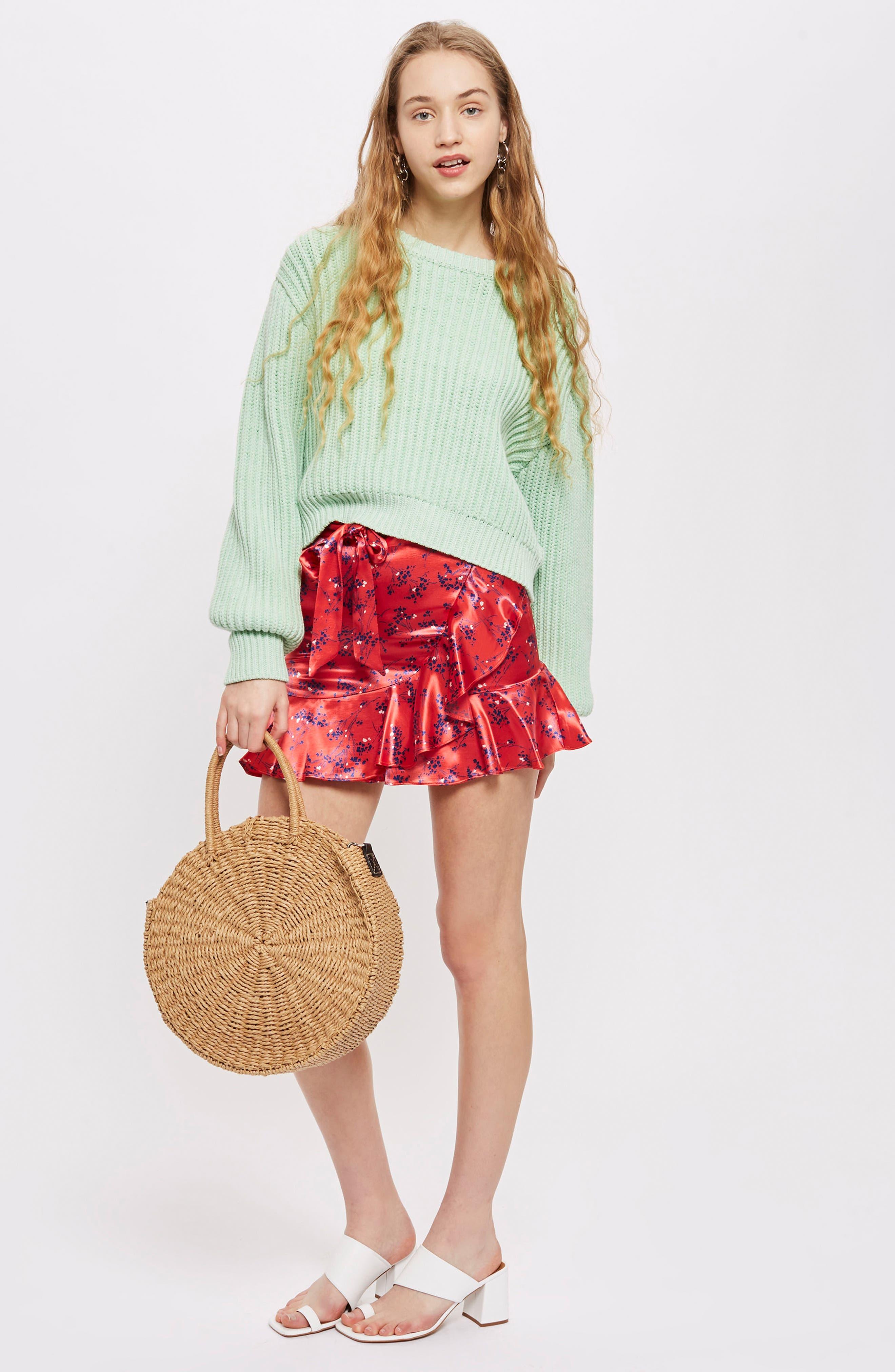 Floral Print Miniskirt,                             Alternate thumbnail 2, color,                             Red Multi