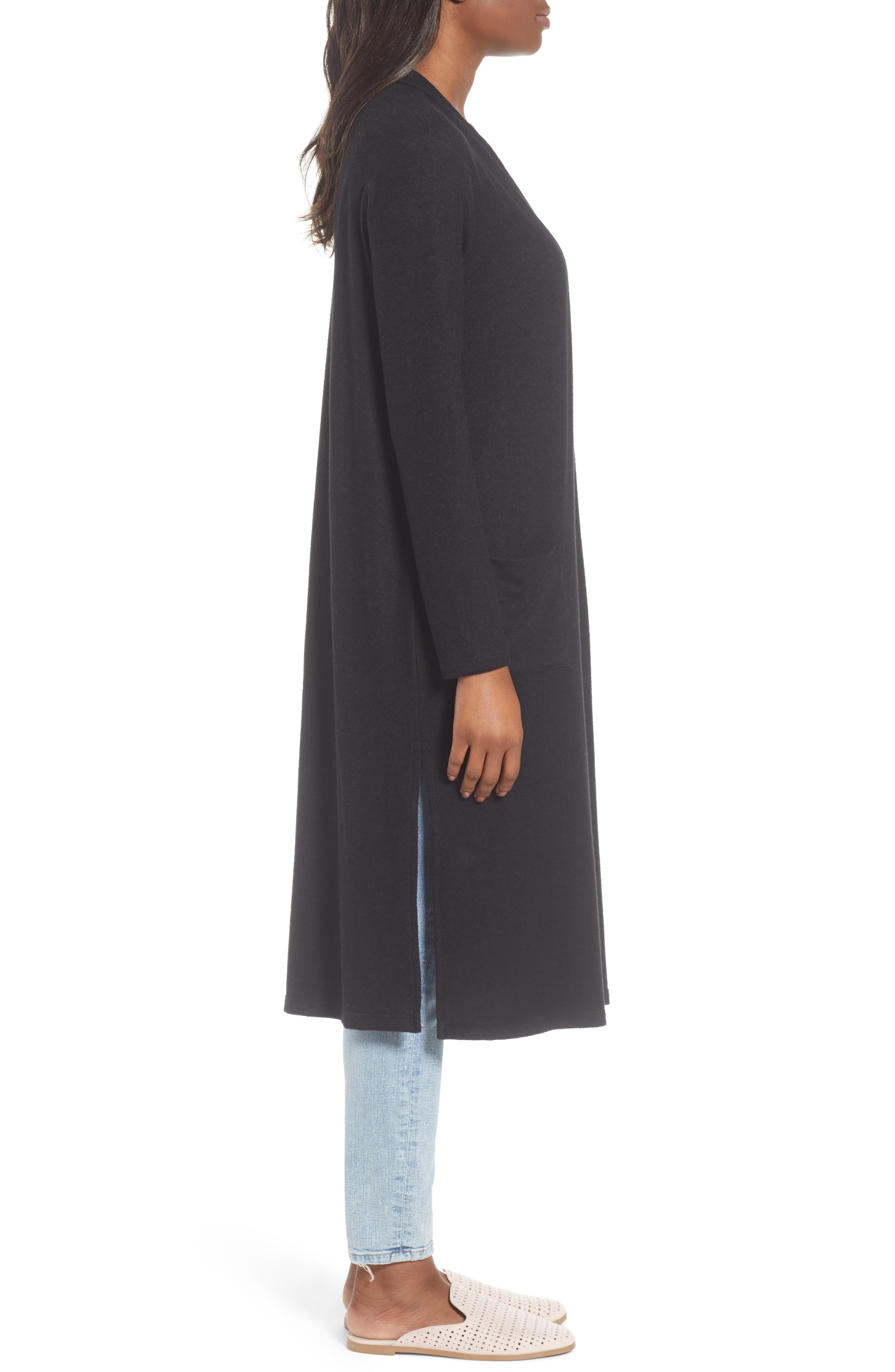 Long Fleece Open Cardigan,                             Alternate thumbnail 3, color,                             Black