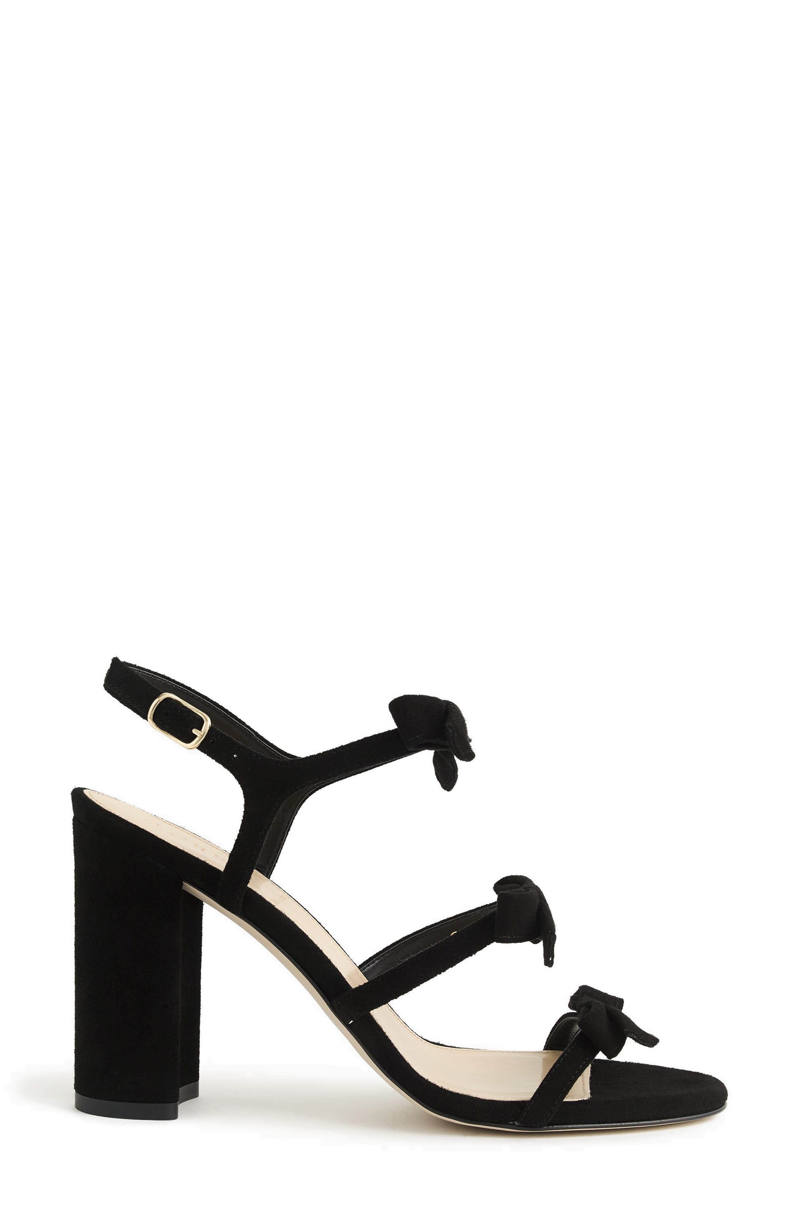 Stella Bow Sandal,                             Alternate thumbnail 2, color,                             Black Fabric