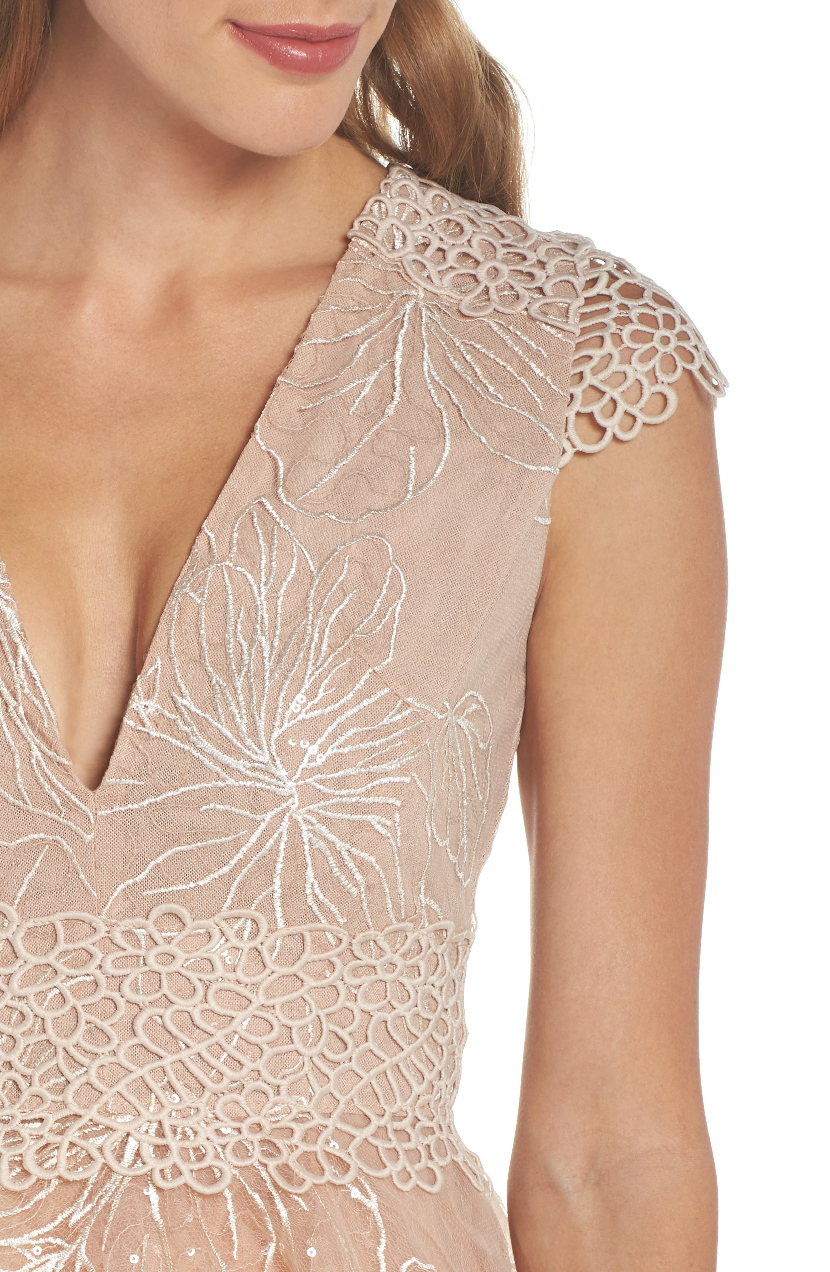 Fiore Sequin Fit & Flare Dress,                             Alternate thumbnail 4, color,                             Beige