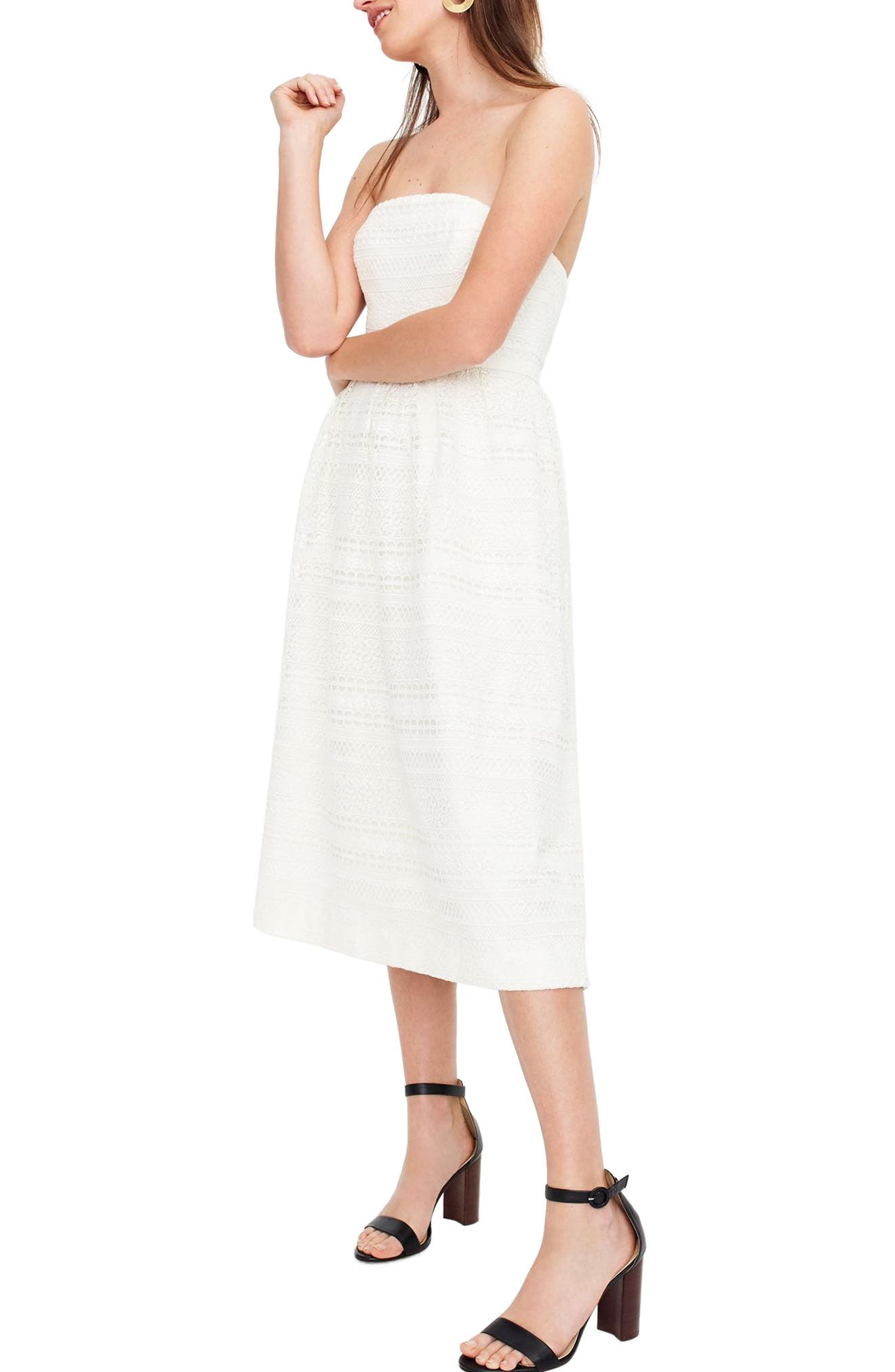 J.Crew Strapless Lace Dress,                             Main thumbnail 1, color,                             Ivory