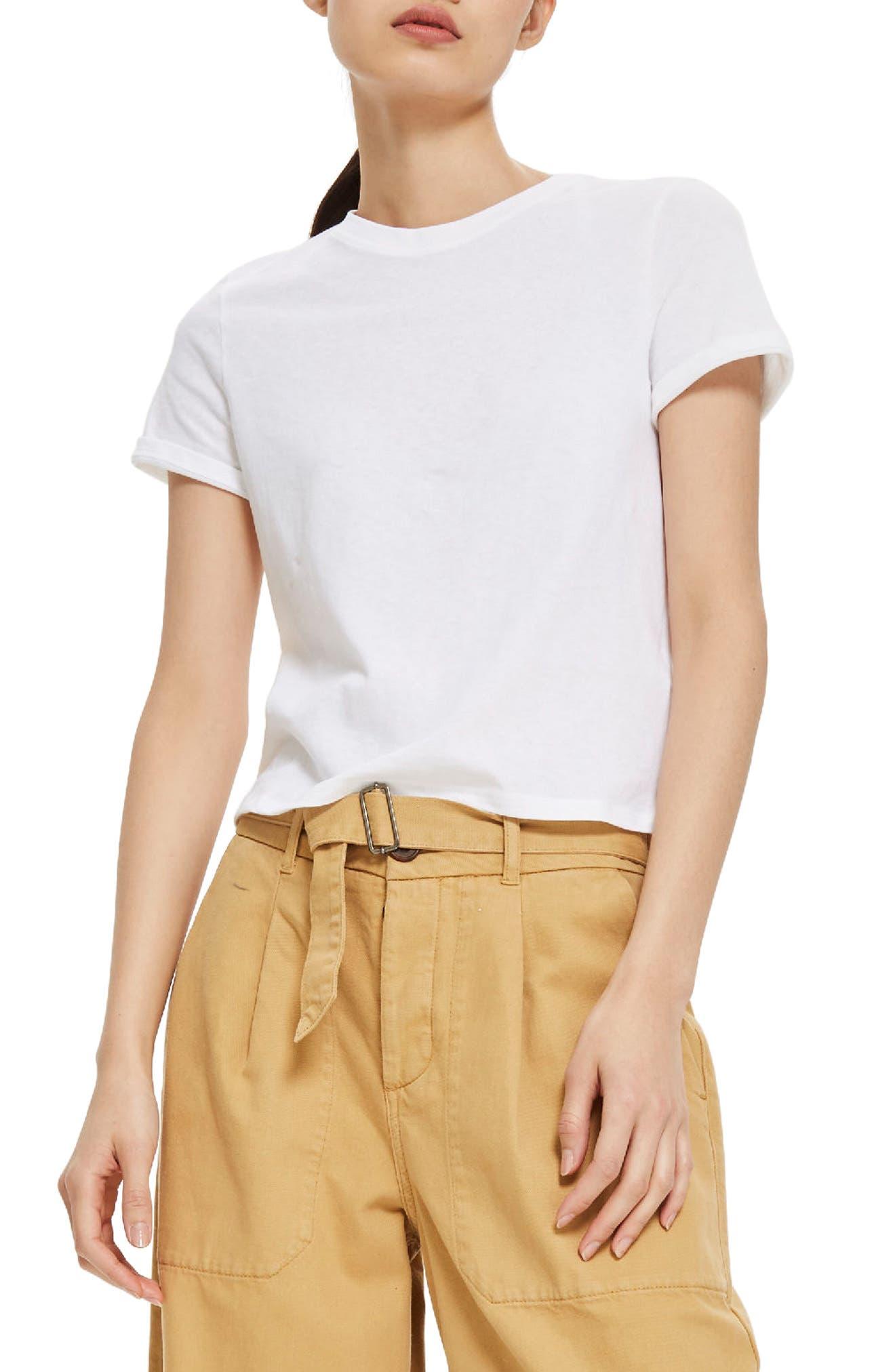 Basic Crop T-Shirt,                             Main thumbnail 1, color,                             White