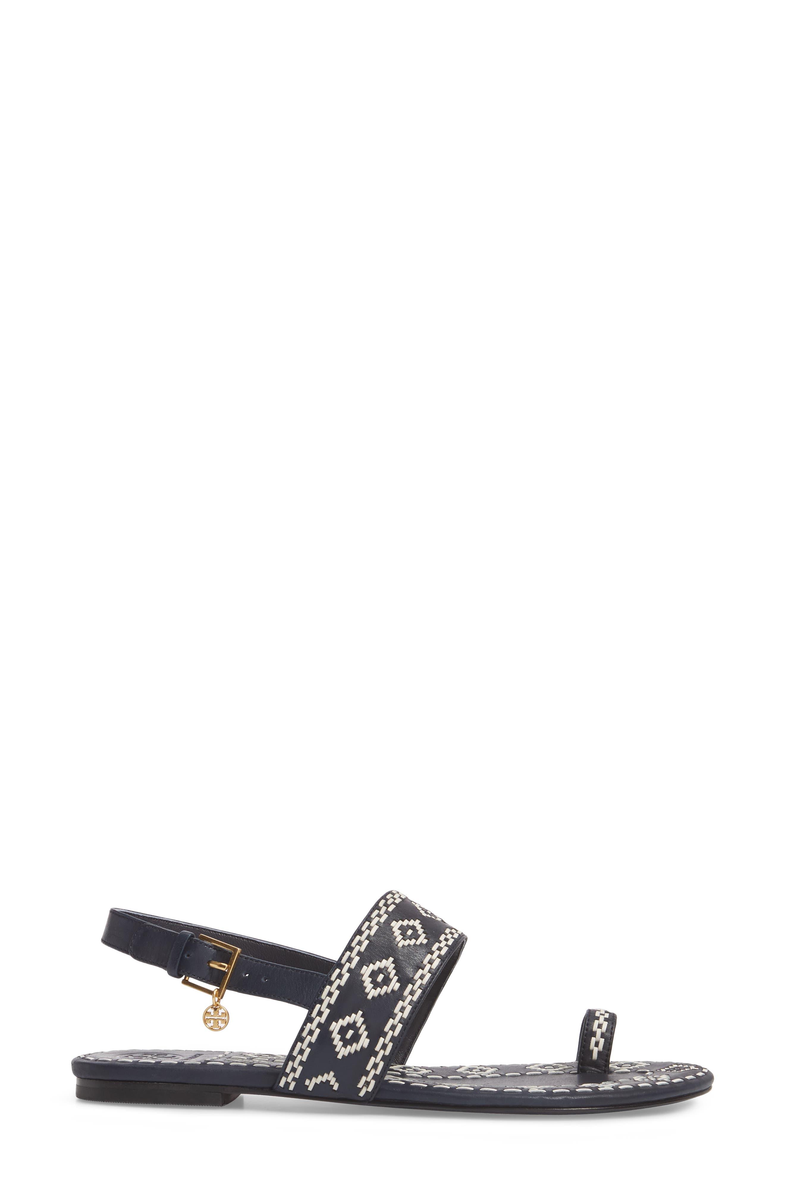 Blake Toe Loop Slingback Sandal,                             Alternate thumbnail 3, color,                             Perfect Navy/ Perfect Ivory