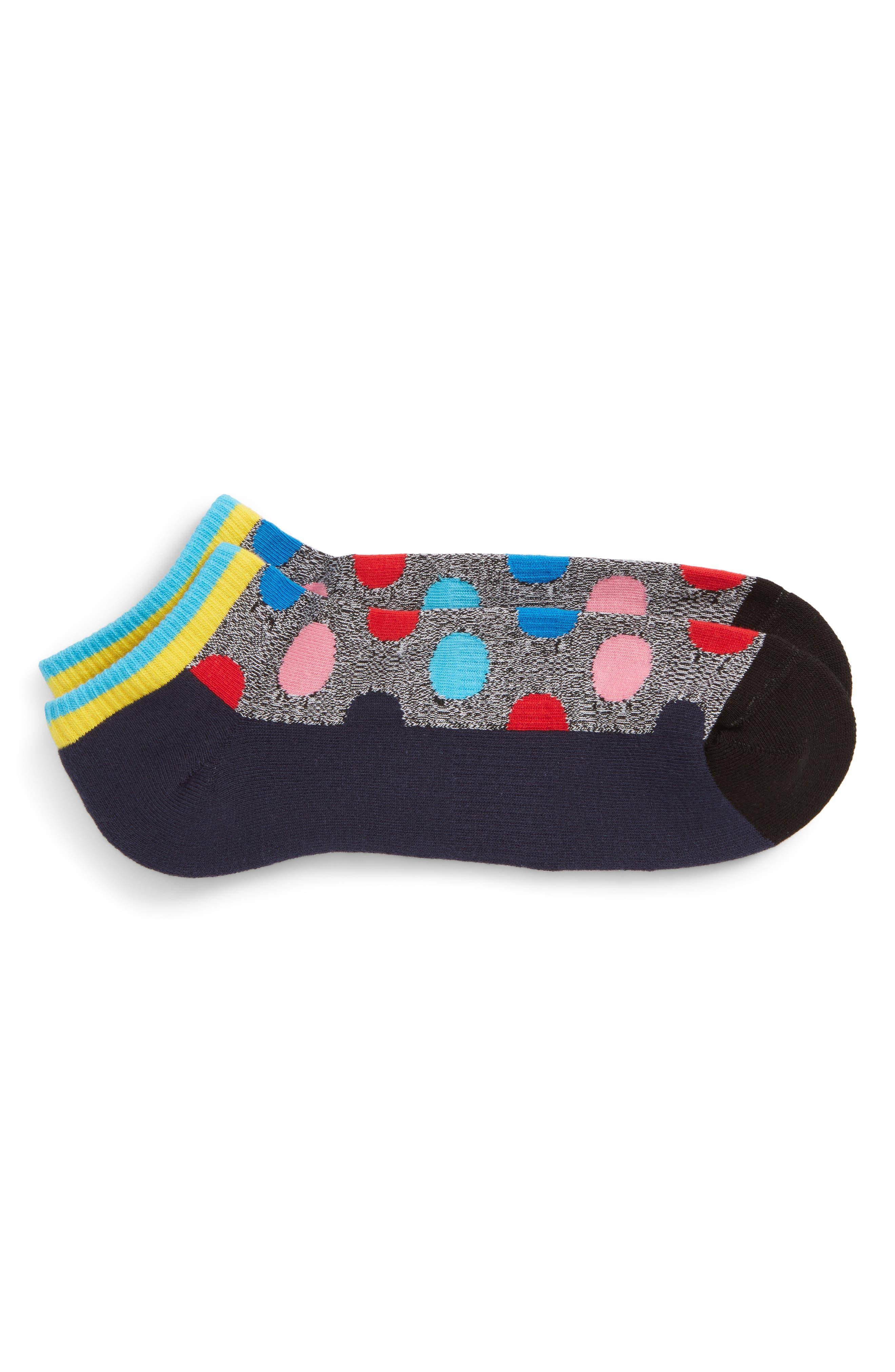 Big Dot Low Cut Socks,                         Main,                         color, Grey Multi