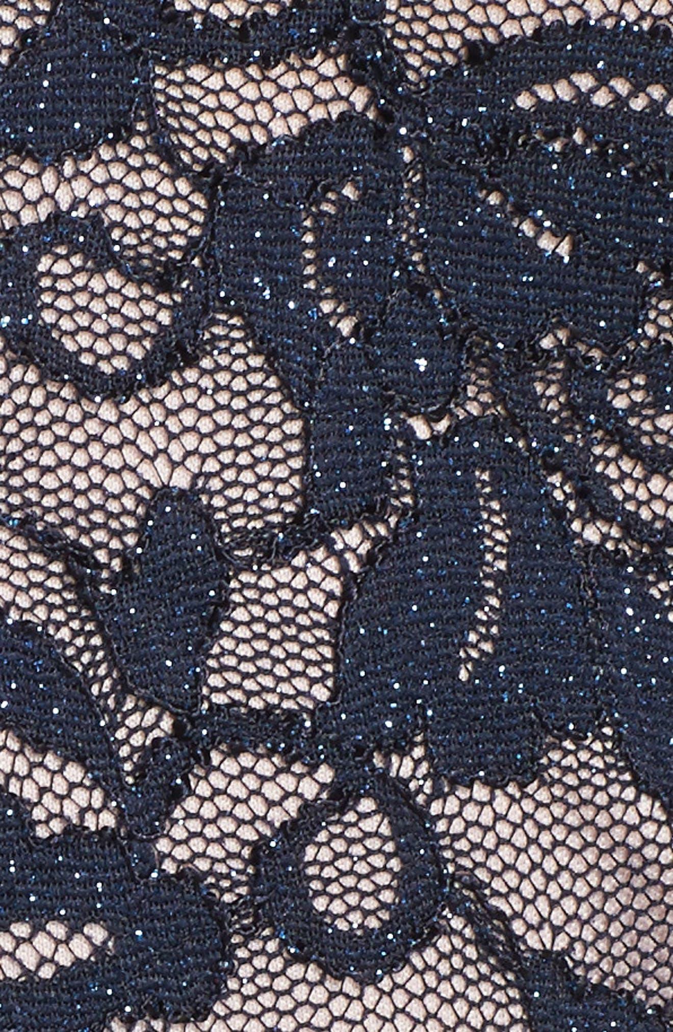 Glitter Lace Fit & Flare Dress,                             Alternate thumbnail 5, color,                             Navy/ Mauve