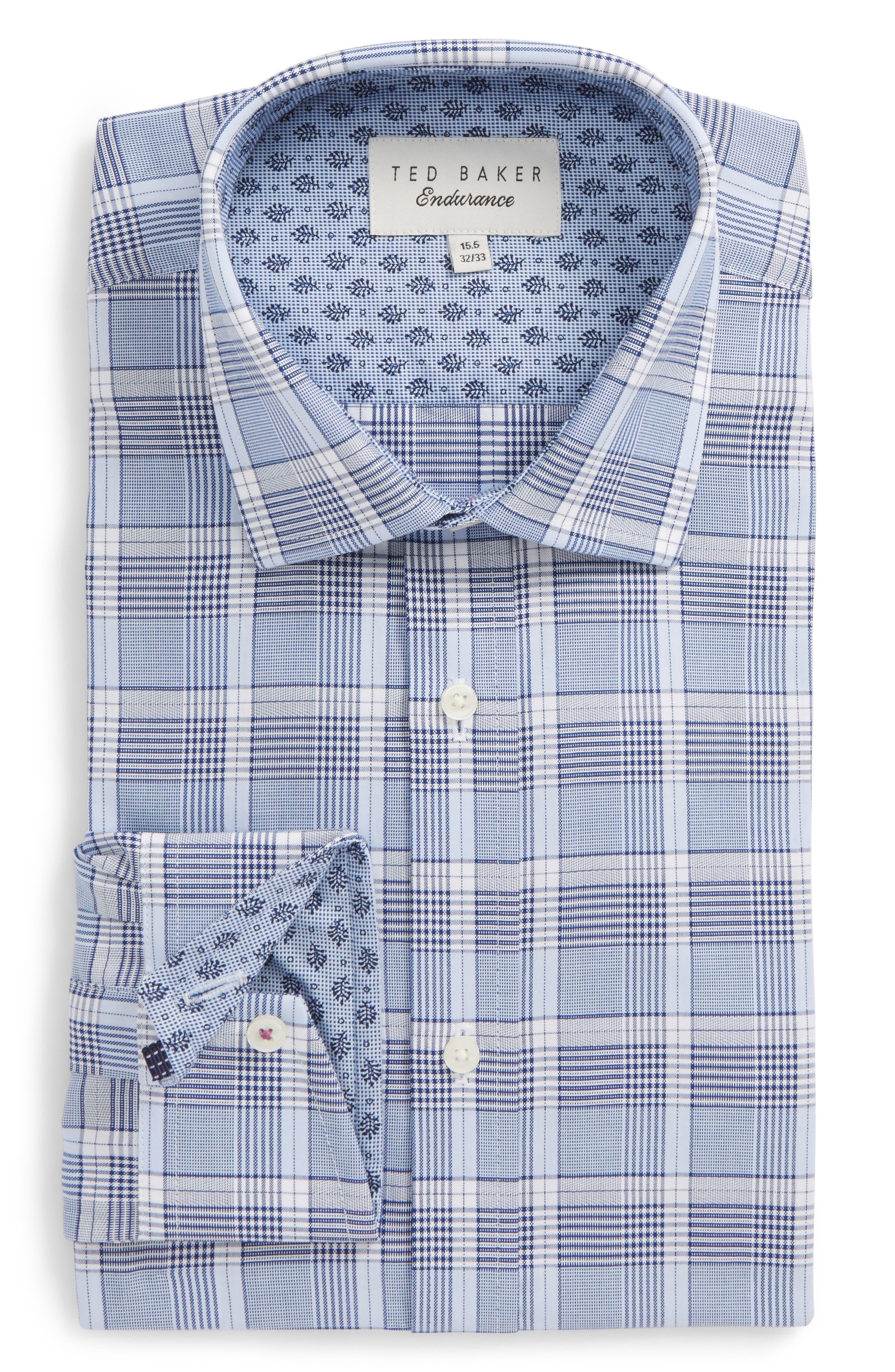 Swanney Endurance Trim Fit Plaid Dress Shirt,                         Main,                         color, Blue