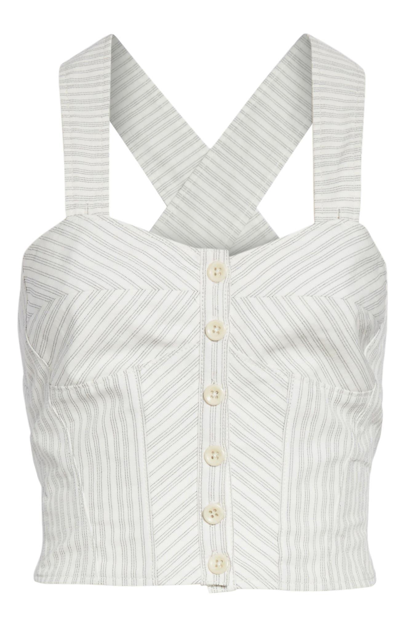 Crisscross Back Stripe Cotton Linen Top,                             Alternate thumbnail 6, color,                             Snow/ Black