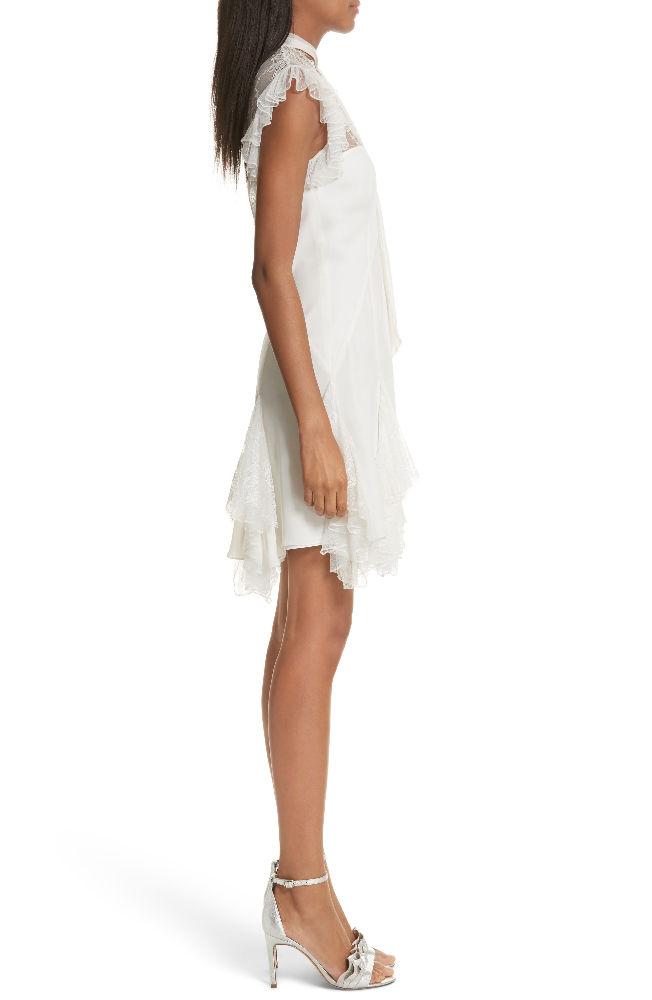 Clotilde Lace Trim Silk Dress with Scarf,                             Alternate thumbnail 3, color,                             Ivory